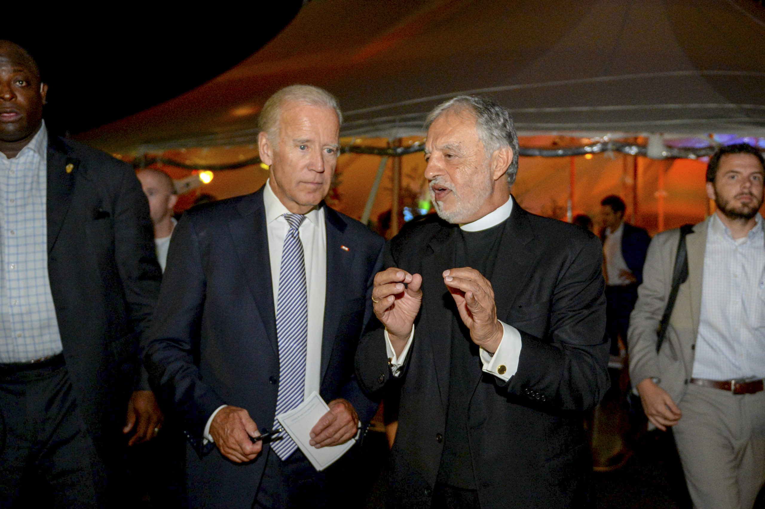President-elect Joe Biden with Father Alex Karloutsos at the 2016 Blue Dream Gala at the the Dormition of the Virgin Mary Greek Orthodox Church of the Hamptons. JOHN MINDALA