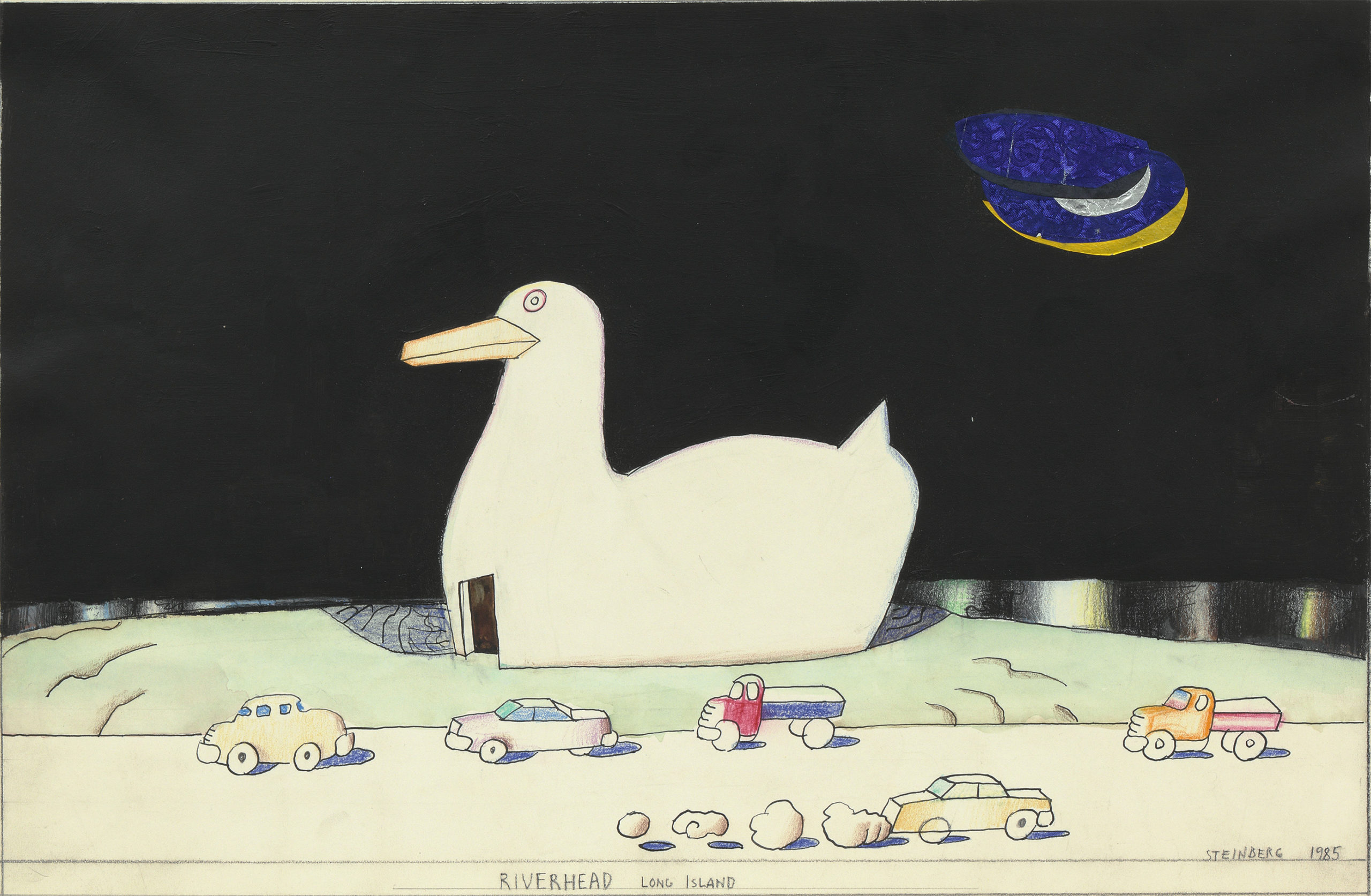 """Saul Steinberg """"Riverhead, Long Island,"""" 1985. Colored pencil, crayon, ink and watercolor on paper."""