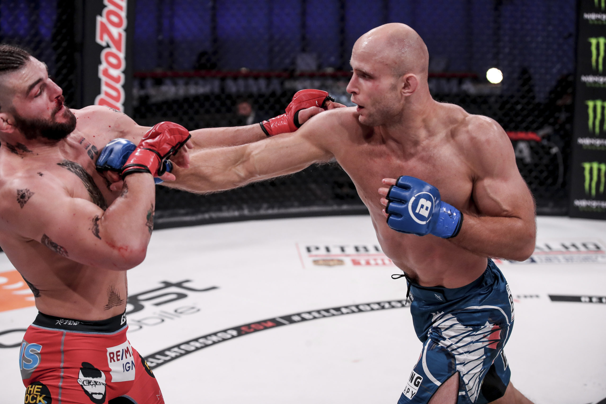 Southampton High School graduate Julius Anglickas defeated Alex Polizzi by unanimous decision on November 5, for his second win in the Bellator division of MMA.     LUCAS NOONAN/Bellator MMA