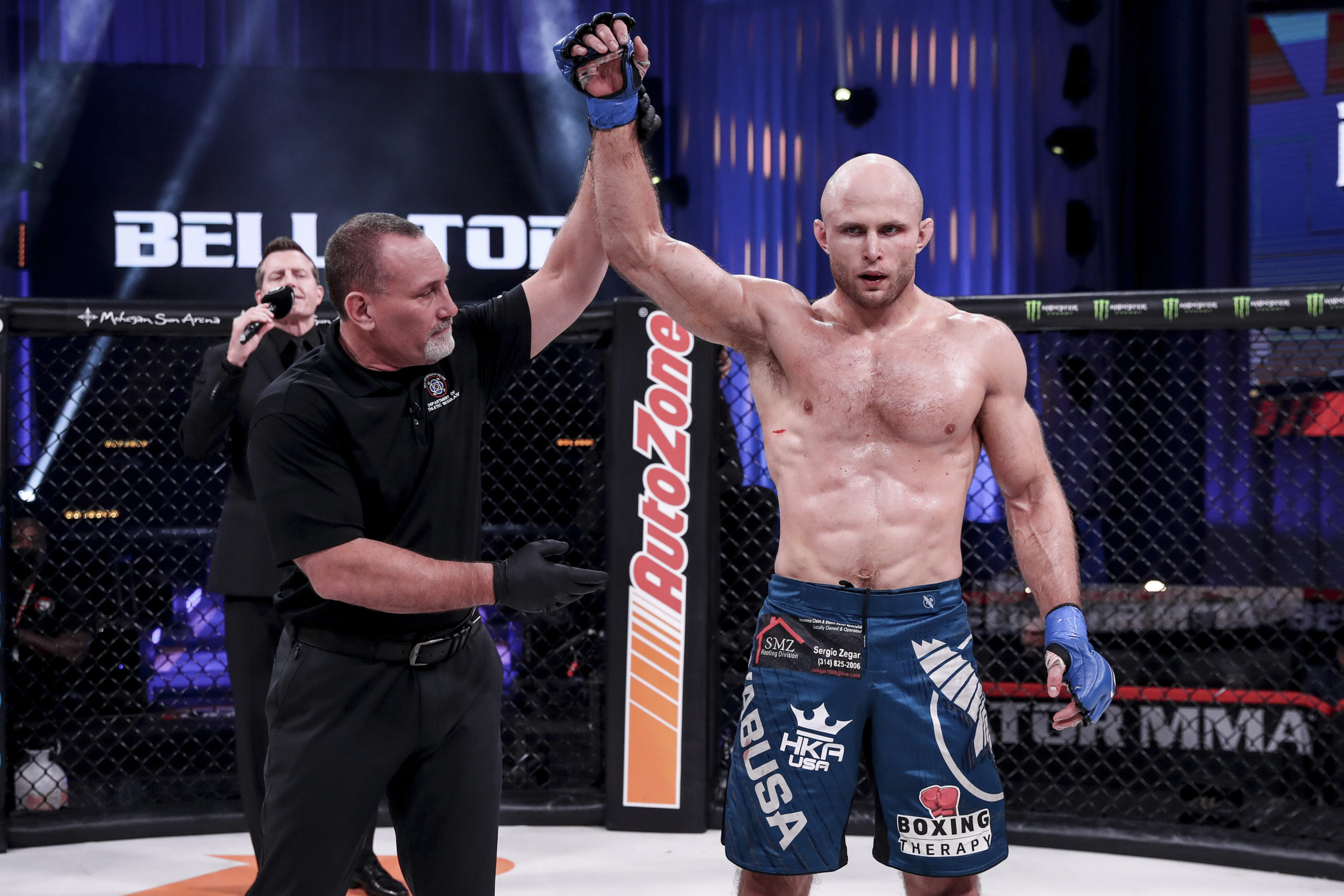 Southampton High School graduate Julius Anglickas defeated Alex Polizzi by unanimous decision on November 5, for his second win in the Bellator division of MMA.   LUCAS NOONAN