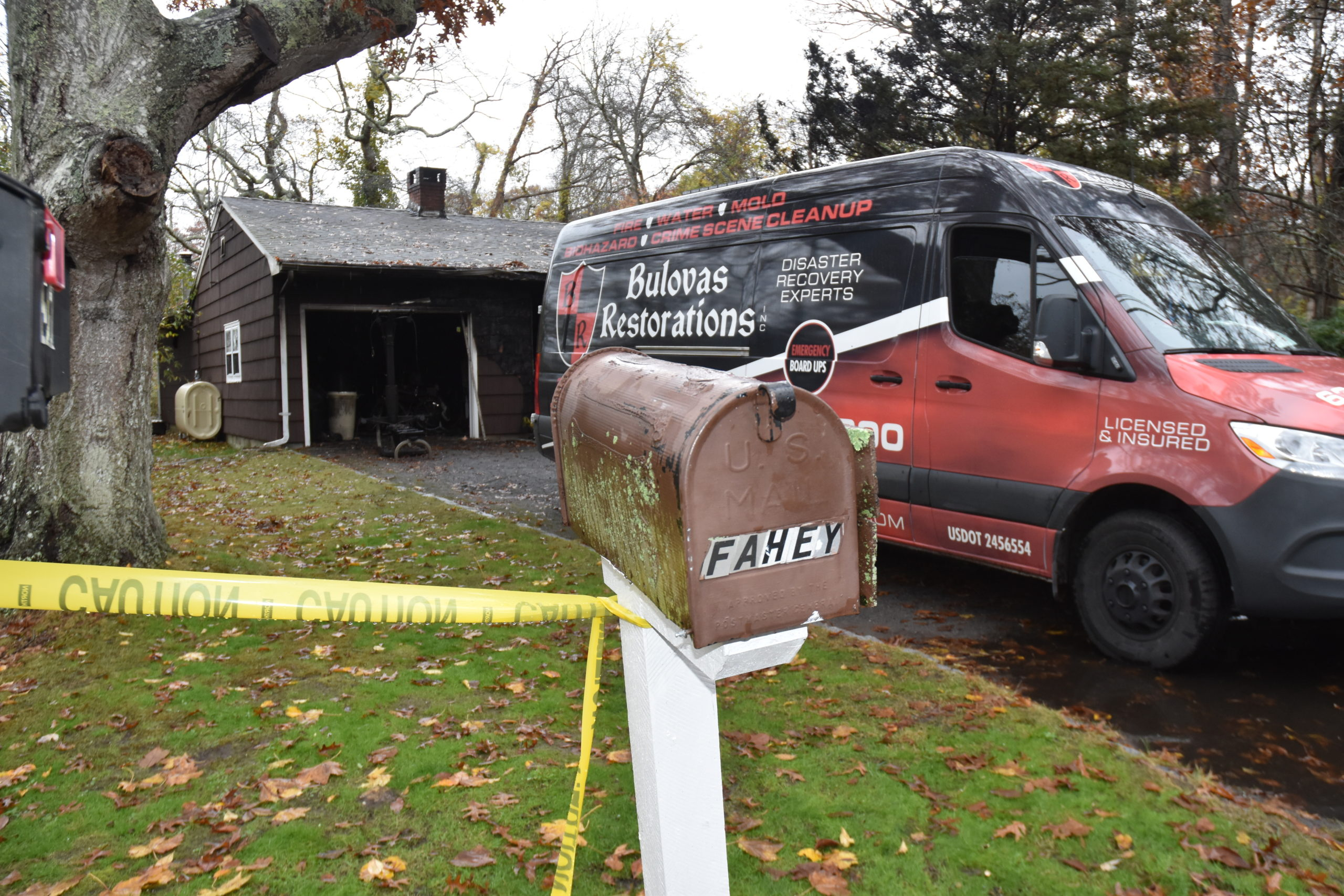 A fire restoration service was at the scene Friday of a fatal fire on Peconic Bay Avenue in North Sea that killed John Fahey.