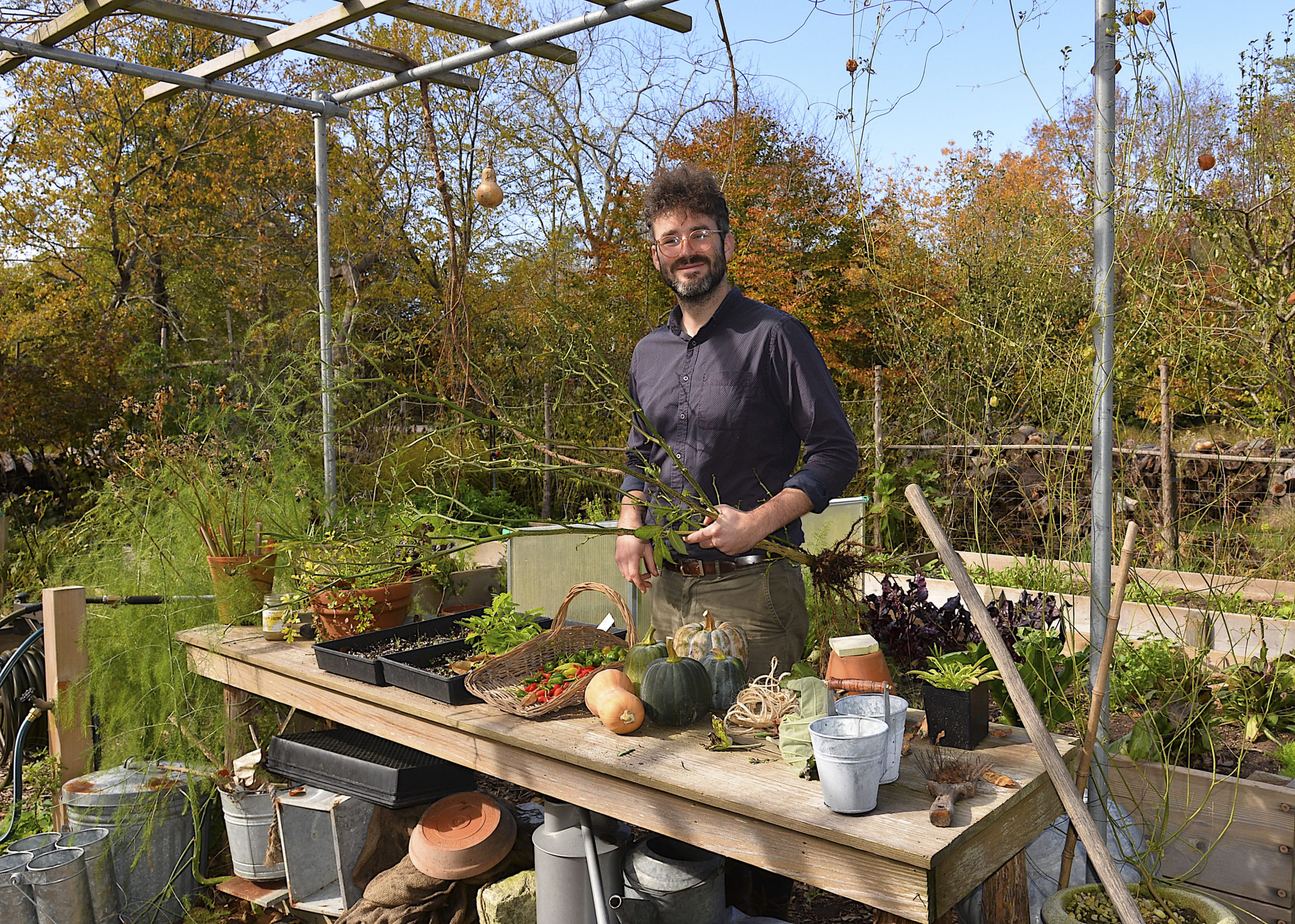 Tim Erdmann, the new gardener and educator at Perfect Earth Project in East Hampton.     KYRIL BROMLEY