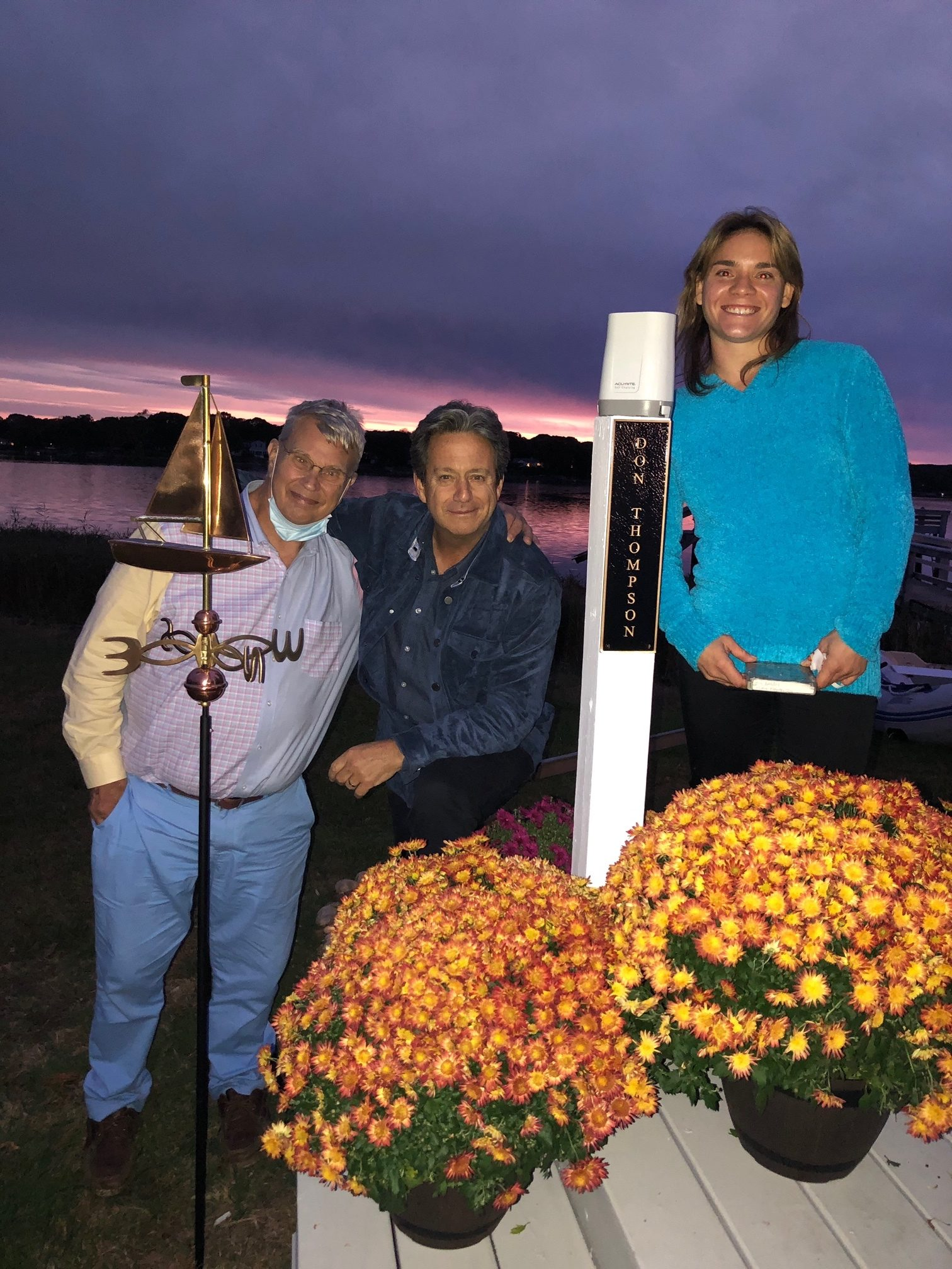 "Gary Sapiane, Bill Evens and Beth Thompson next to the rain gauge and weather vain erected at WLNG studios in Sag Harbor on Tuesday, October 27. Mr. Thompson (pictured inset) was on the longtime radio station for over 25 years as a weatherman and was honored after passing away suddenly in April, just hours after a morning broadcast on WLNG, where he also hosted a show called, ""Big Daddy"" earlier in his career at the station."