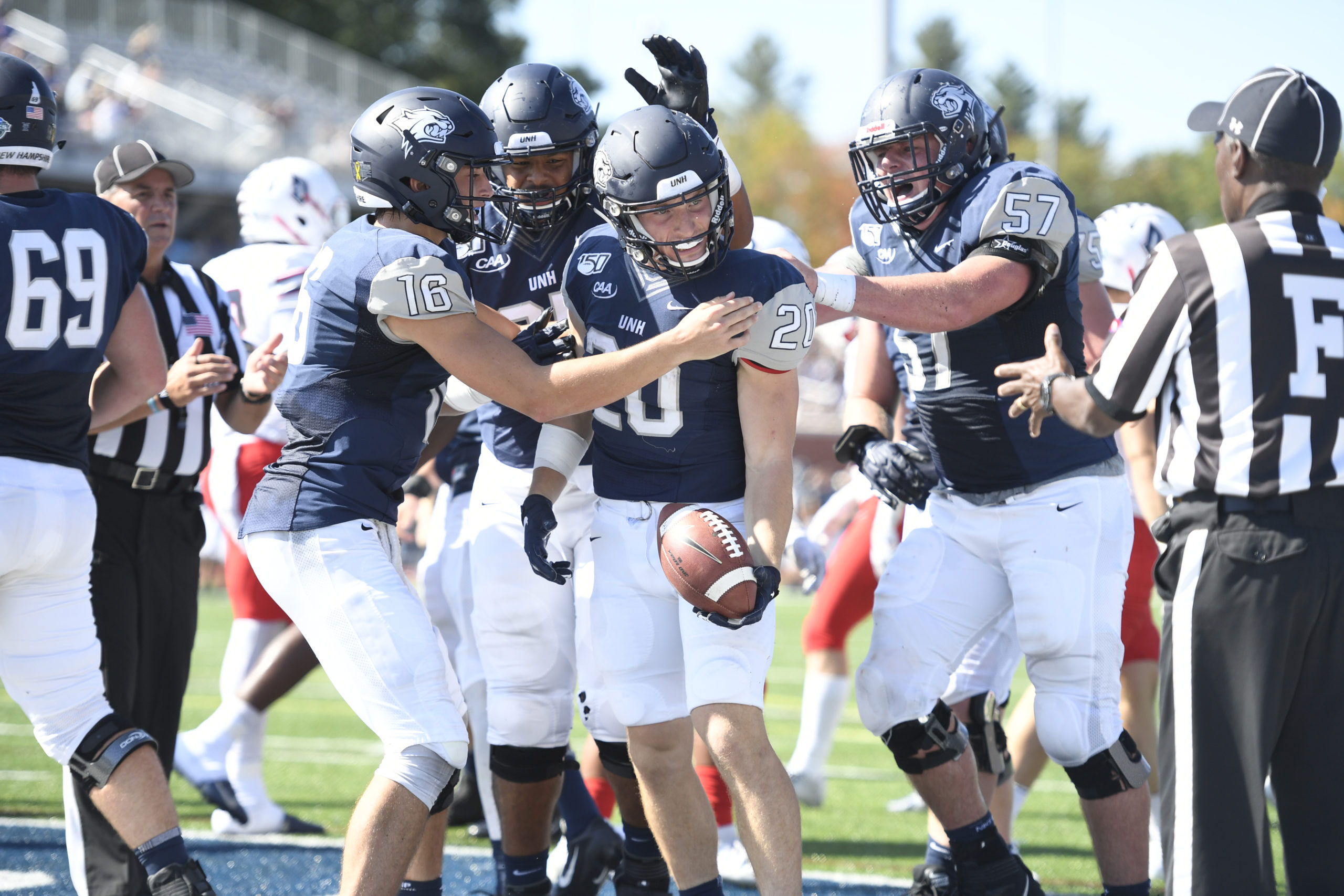 Westhampton Beach graduate Dylan Laube is in his junior season at the University of New Hampshire, trying to adjust to a new normal in the time of Covid-19. He and his UNH teammates are hoping they can play an abbreviated football season in the spring, and were allowed to practice this fall.       GIL TALBOT