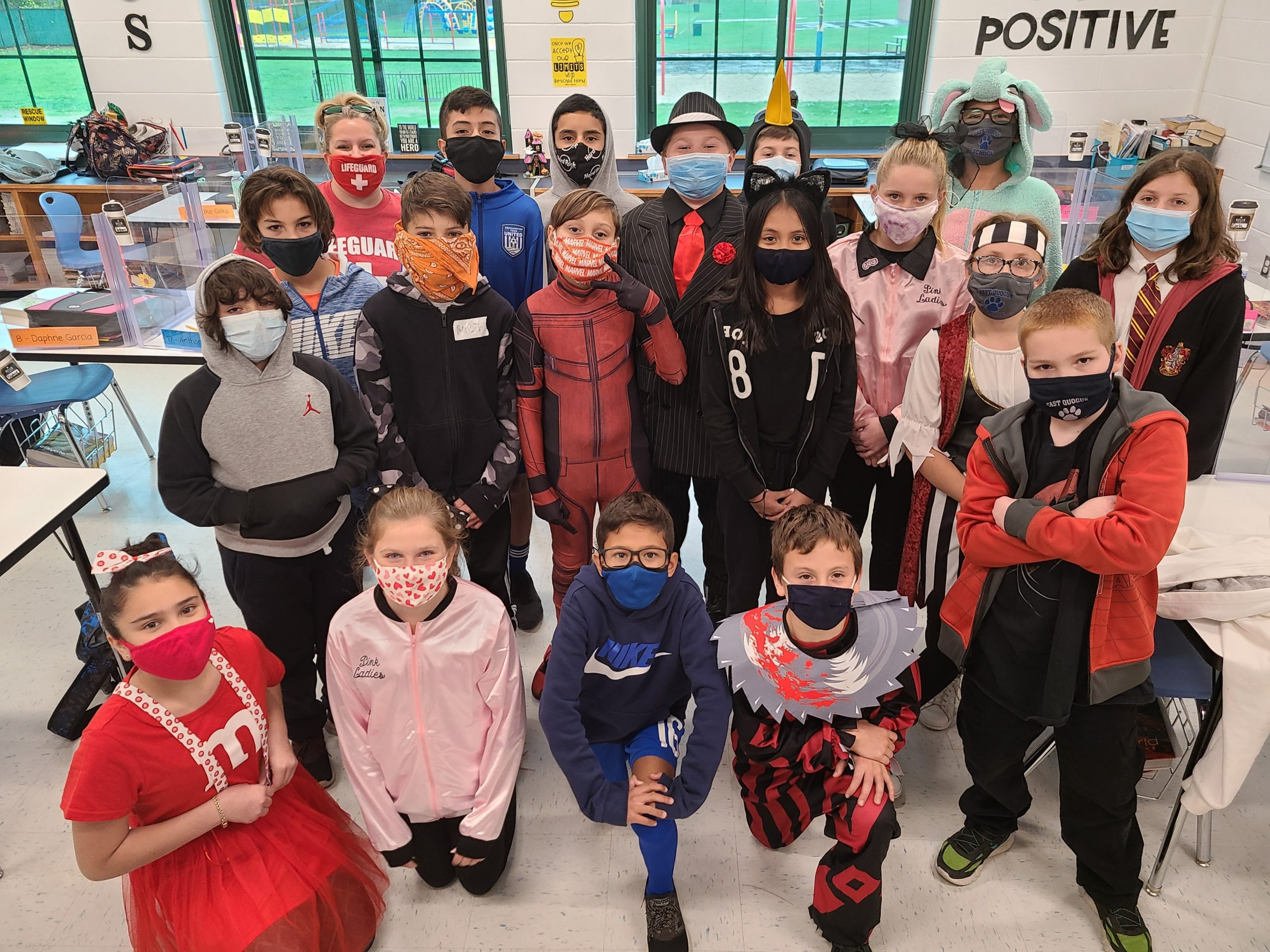 Students in Jackie Alessi's sixth grade class at East Quogue Union Free School District enjoy some Halloween fun on October 30.