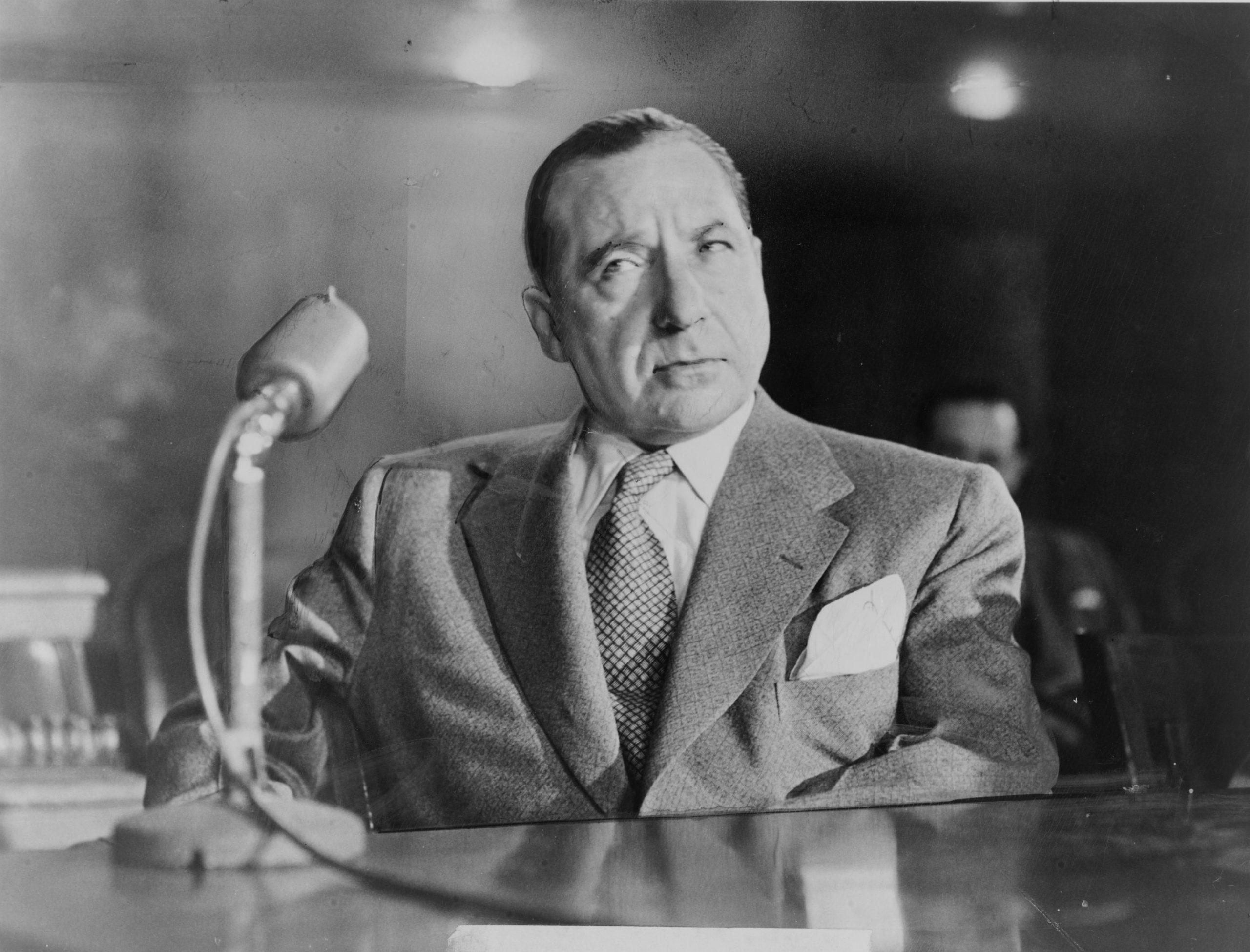 American mobster Frank Costello in 1951 testifying before the Kefauver Committee investigating organized crime.