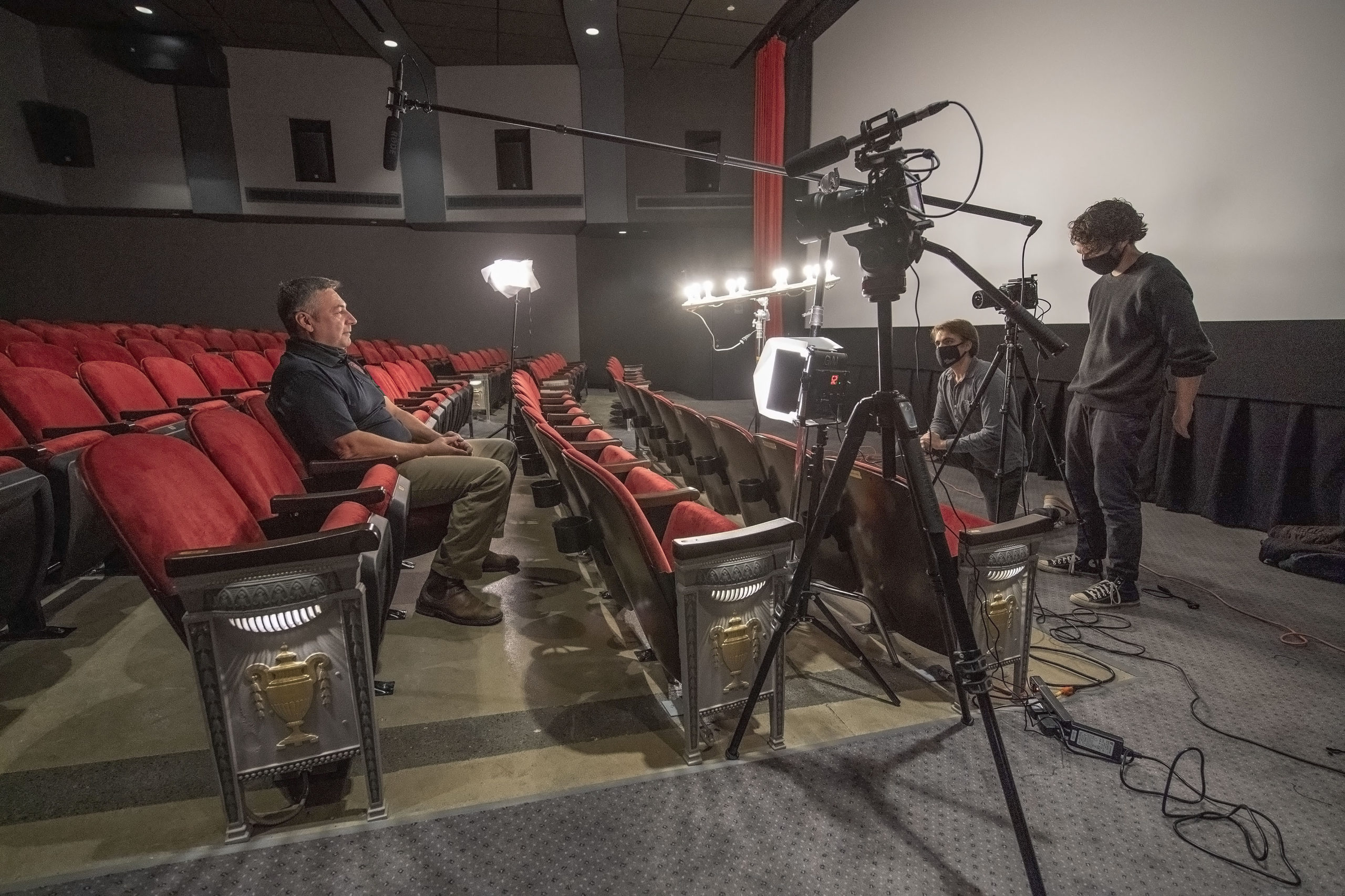 Sam Hamilton, son of Emma Walton and Steve Hamilton, conducted a series of video interviews of past and present chiefs of the Sag Harbor Fire Department inside the newly-completed Sag Harbor Cinema on Sunday, November 22, about their experiences fighting the fire at the cinema four years ago, with the goal of producing a short video honoring fire department members.