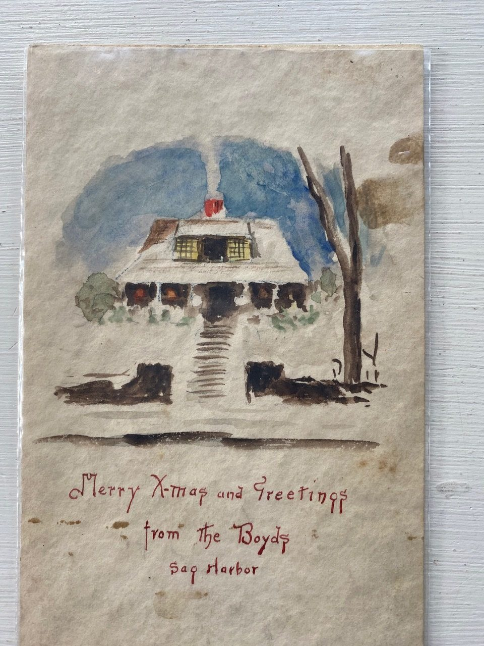 An undated Christmas card painted by Annie Cooper Boyd. COURTESY SAG HARBOR HISTORICAL SOCIETY