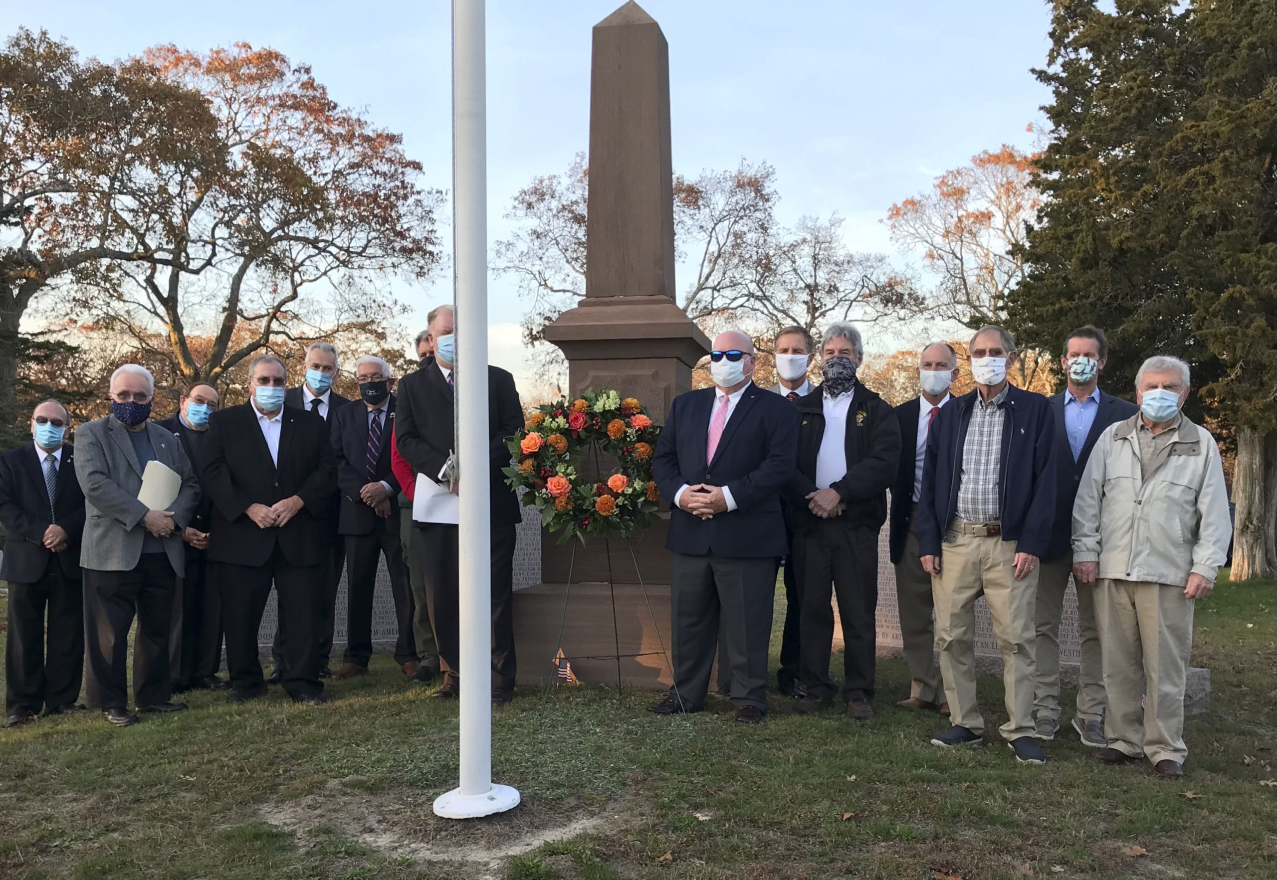 The Knights of Columbus #7423 displayed a wreath in front of the Veterans Memorial at the Westhampton Cemetery in honor of Veterans Day.