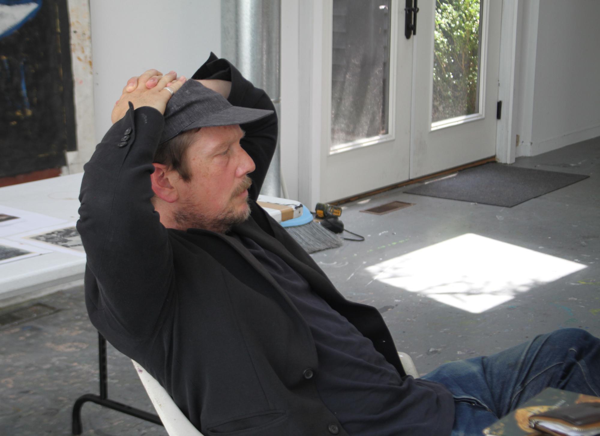 Artist Joe Bradley at work in the Elaine de Kooning house in East Hampton.