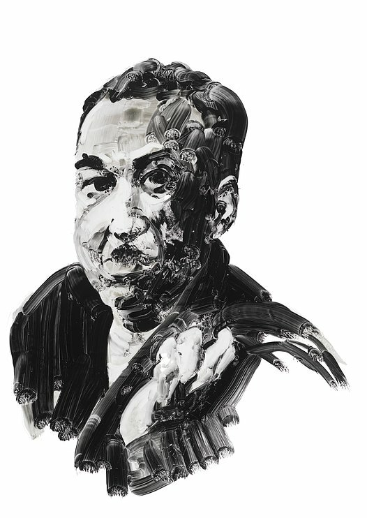 Writer James Mercer Langston Hughes. Portrait by Eric Fischl.