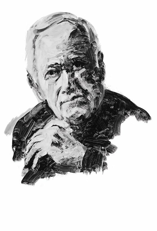 Author James Salter. Portrait by Eric Fischl.