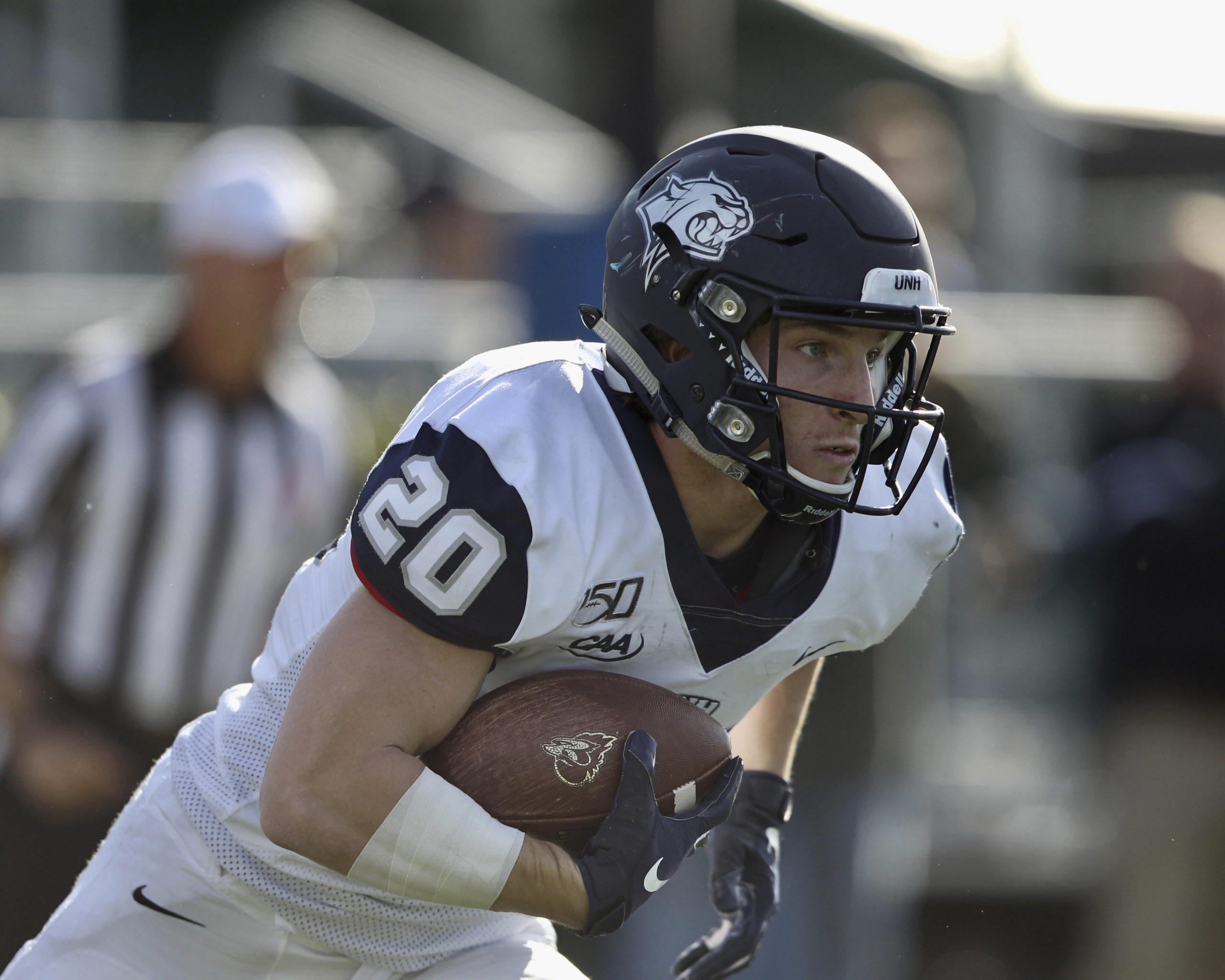Westhampton Beach graduate Dylan Laube is in his junior season at the University of New Hampshire, trying to adjust to a new normal in the time of Covid-19. He and his UNH teammates are hoping they can play an abbreviated football season in the spring, and were allowed to practice this fall.       SCOTT GREENWALD
