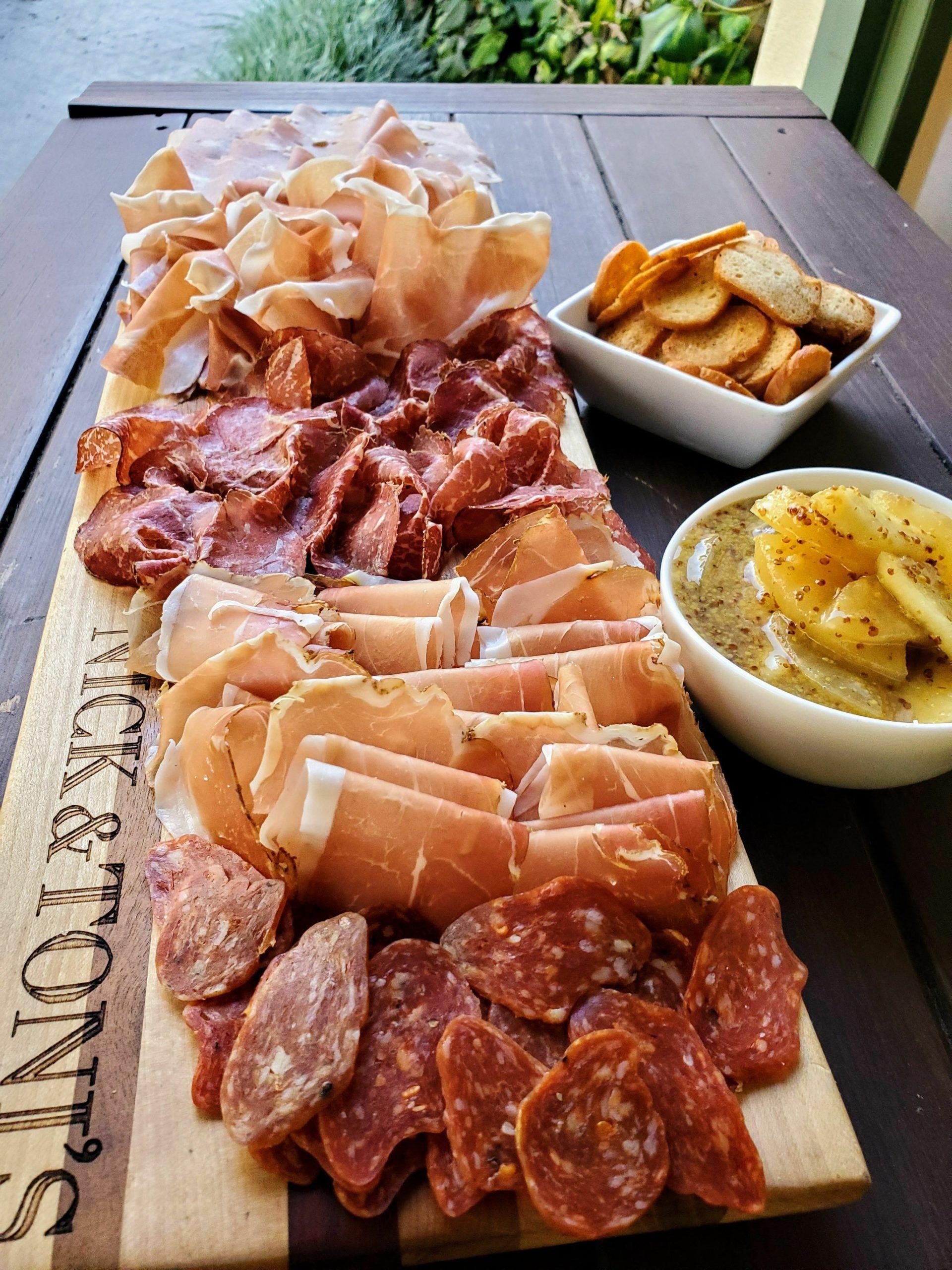 Nick & Toni's affettati misti (Italian cured meat platter).