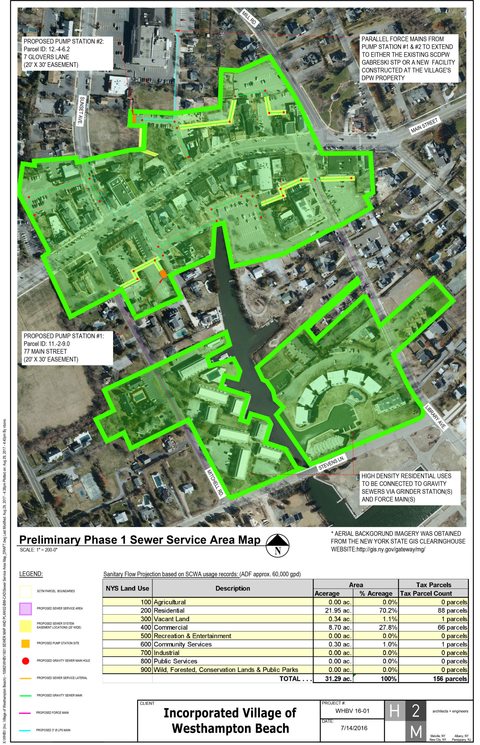 Phase 1 of the sewer service area.