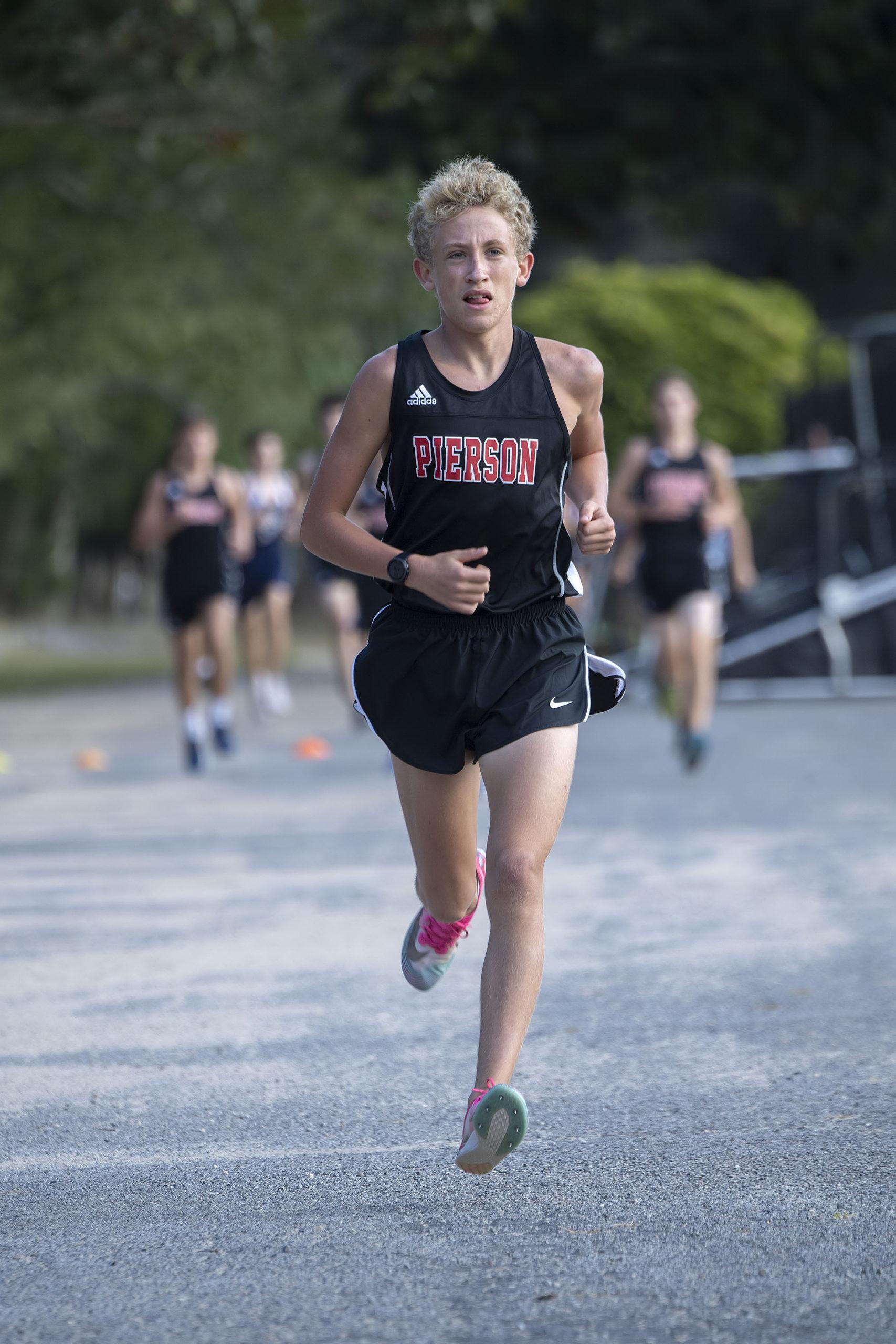 Pierson Cross Country Runner Ben McErlean competes against the Ross School last year   MICHAEL HELLER