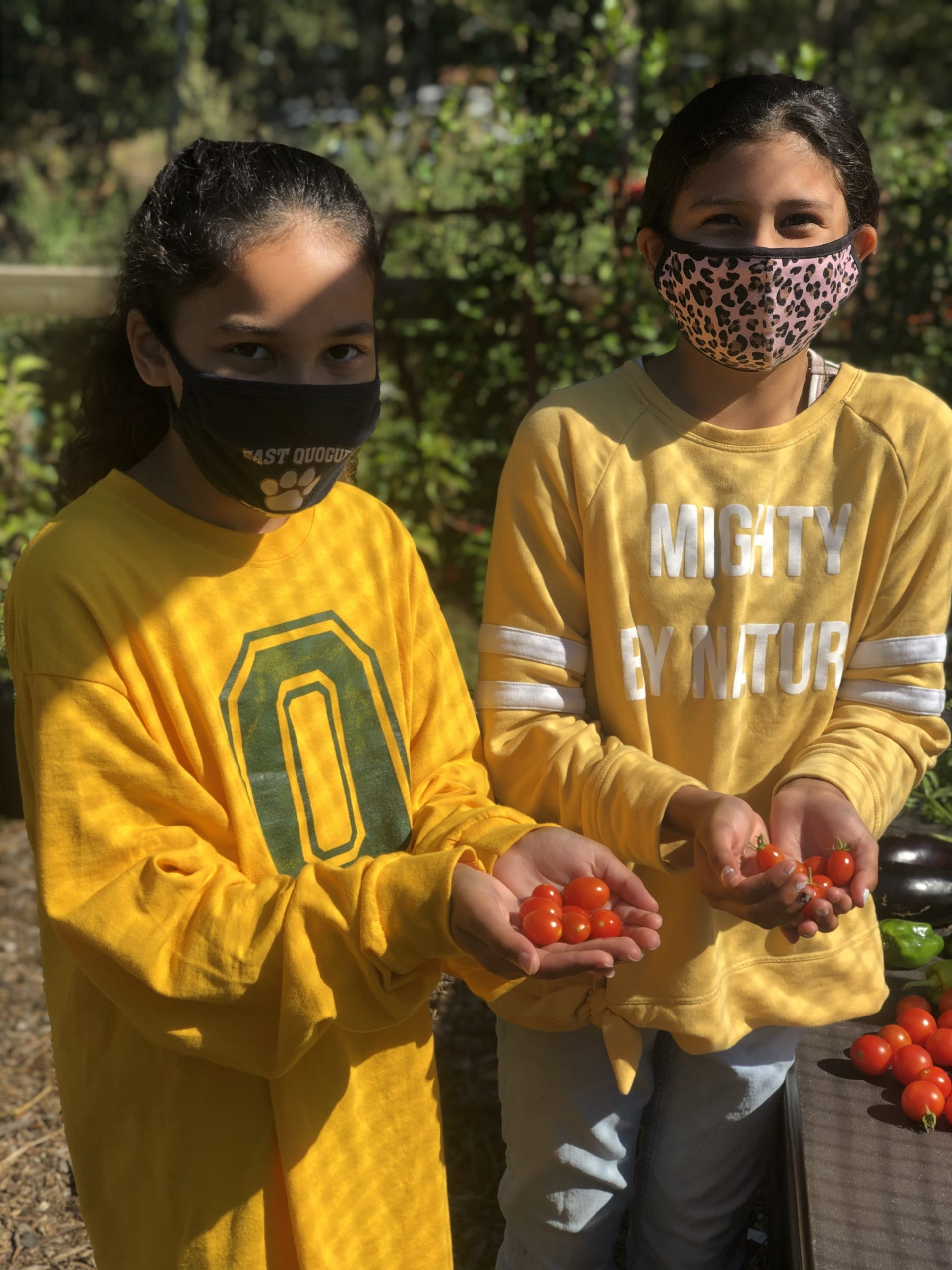 Aurora Recchion and Gabriela Cisneros enjoy learning in the Quogue Elementary School garden last week, where Mrs. Kelly Zaffuto's class spent time journaling.
