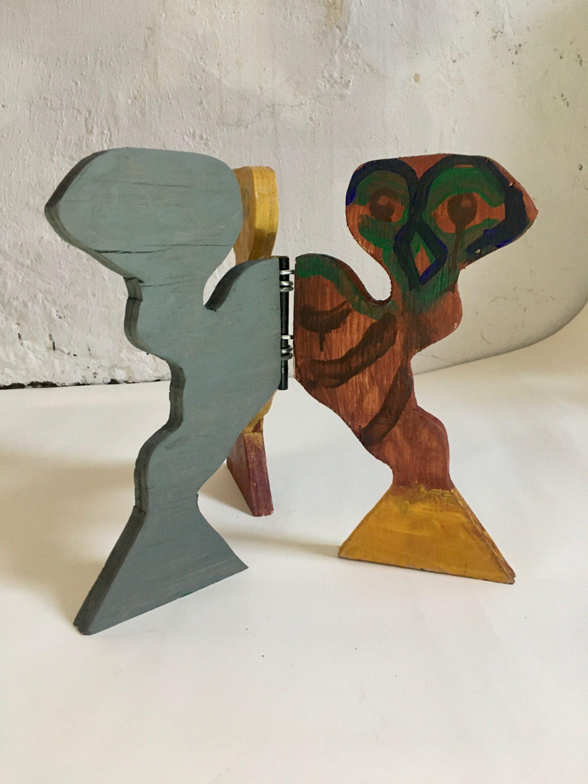 "Bill Saylor ""Triad,"" 2020. Wood, acrylic, metal, plastic, permanent wax pastel. Exhibited at Duck Creek in June 2020."