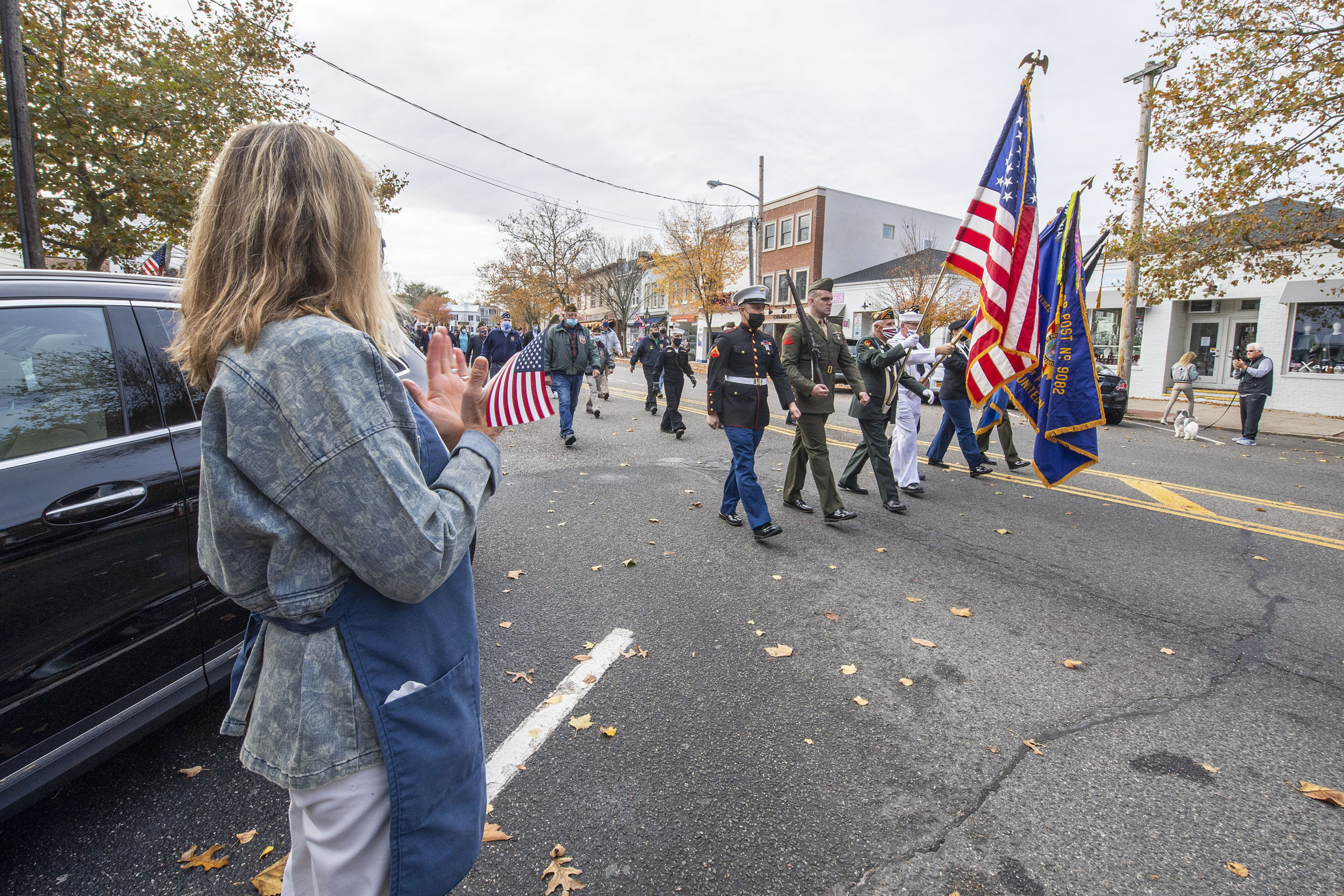 Sag Harbor veterans march down Main Street in Sag Harbor on the morning of Veteran's Day.