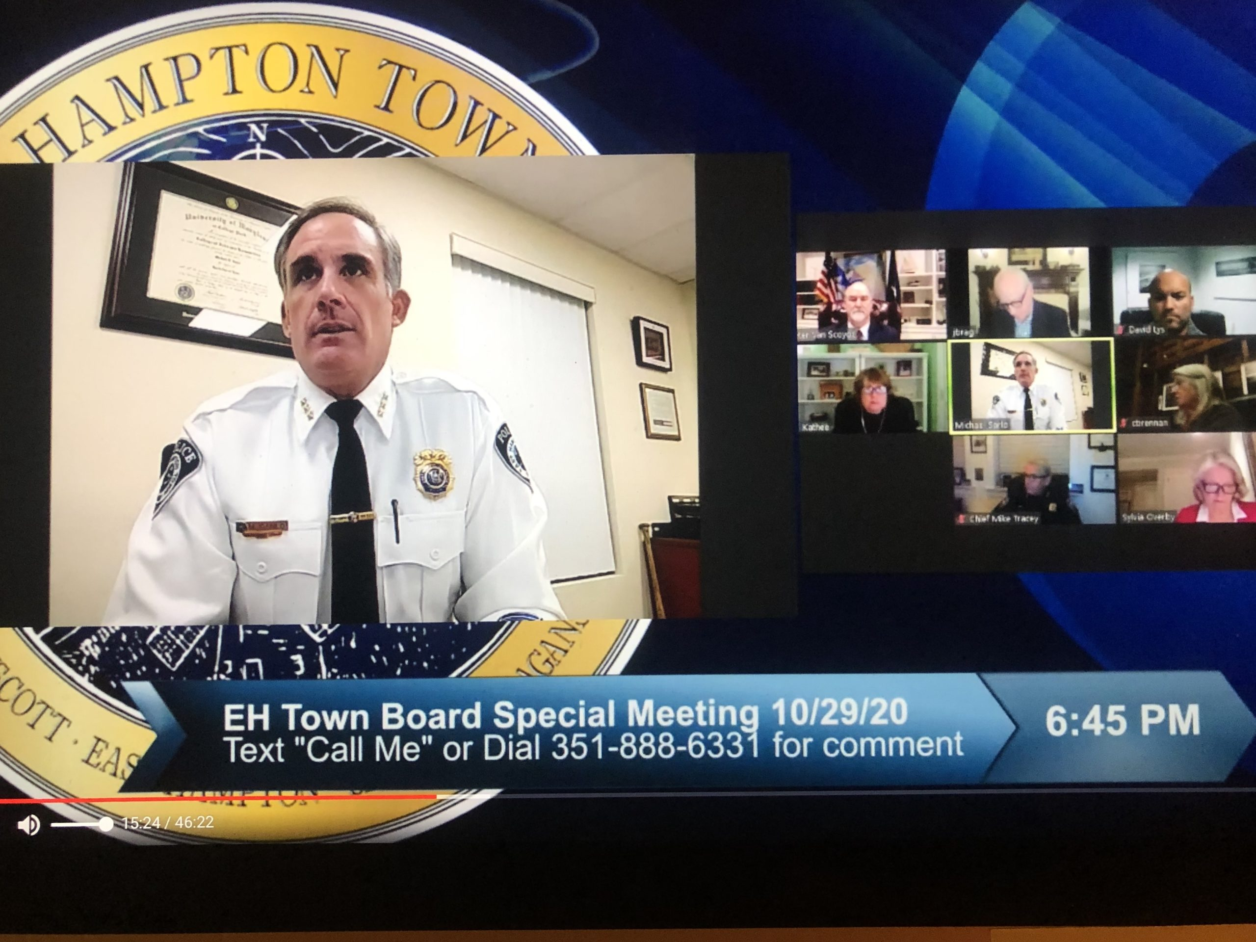 East Hampton Town has begun its state mandated process of examining police protection in the town and adjoining villages. East Hampton Town Police Chief Michael Sarlo said his department welcomes the process and is already well on the road to implementing many of the state's recommendations.