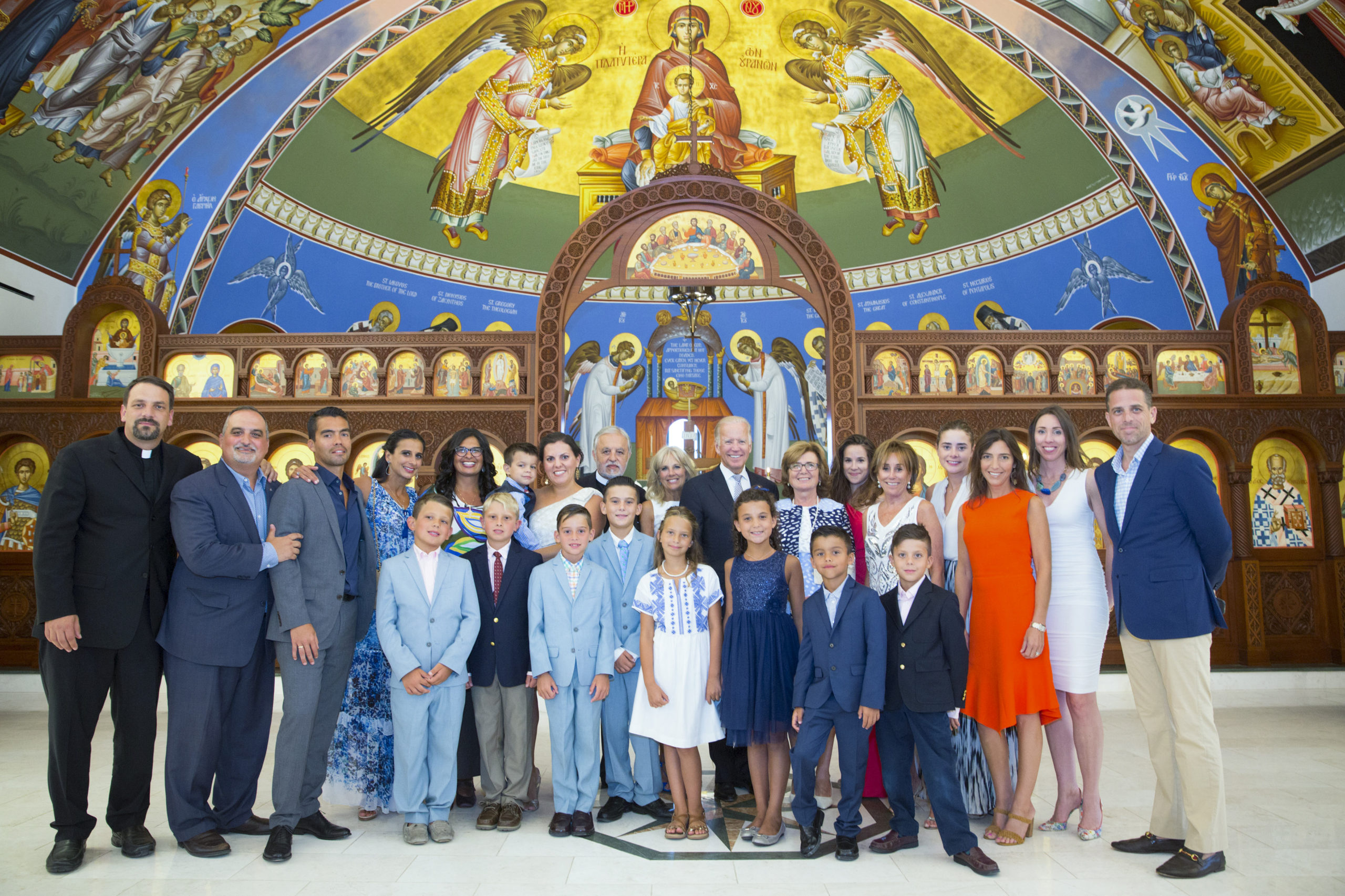 The Biden and Karloutsos families at the 2016 Blue Dream Gala at the the Dormition of the Virgin Mary Greek Orthodox Church of the Hamptons.     JOHN MINDALA
