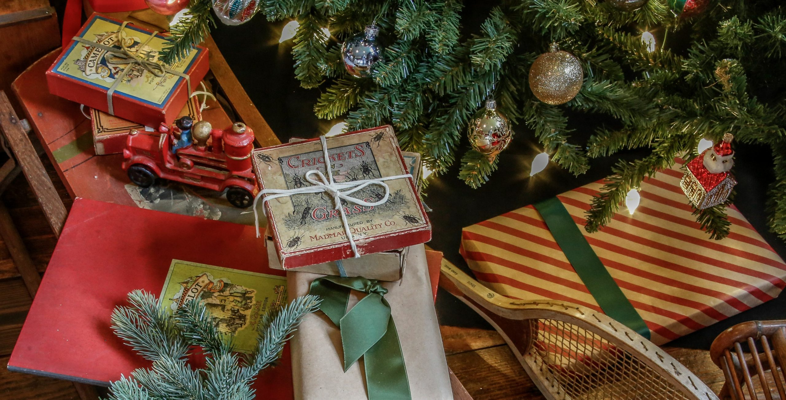 Toys under the tree at the Moran Studio.