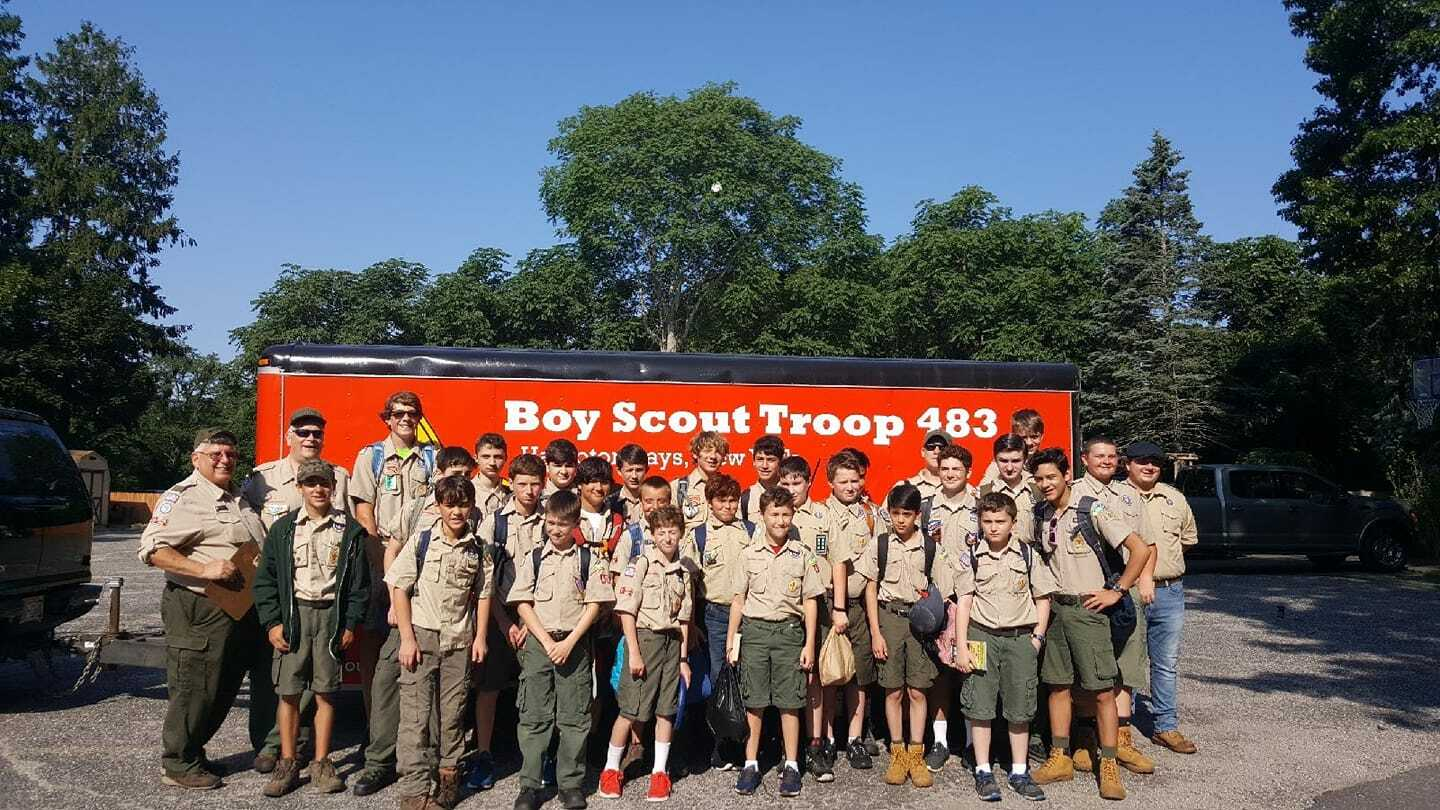 Hampton Bays Boy Scout Troop 483 will host a food drive to support St. Rosalie's Church this weekend.