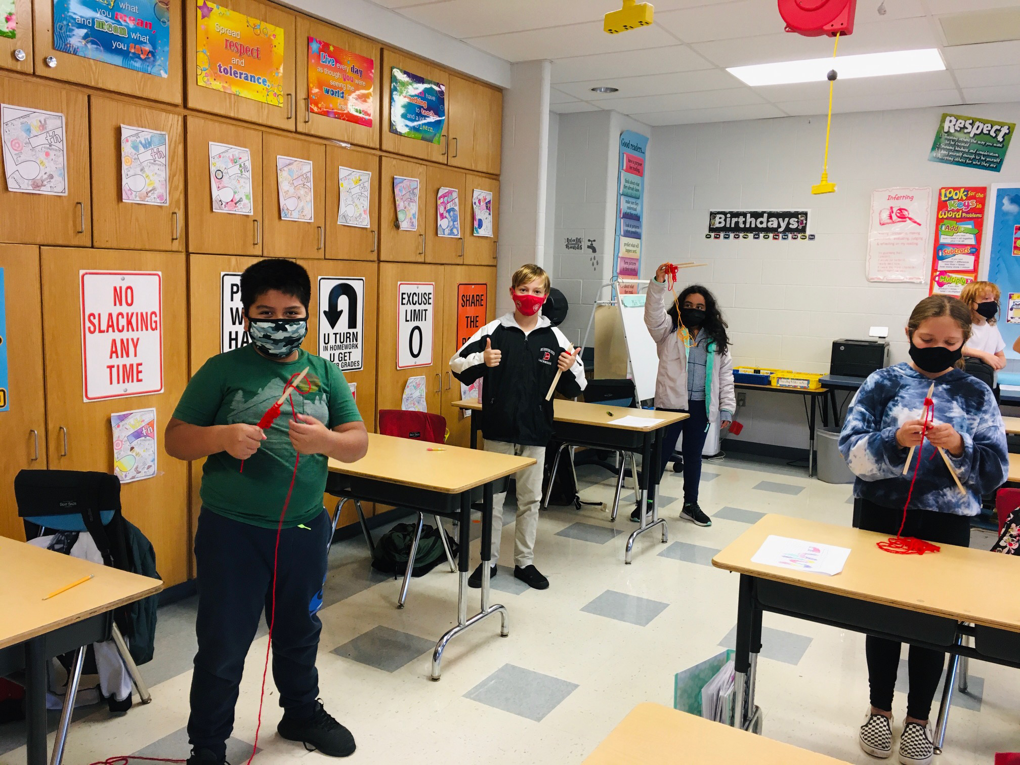 Westhampton Beach Elementary School fifth graders learned to knit as part of an art project.