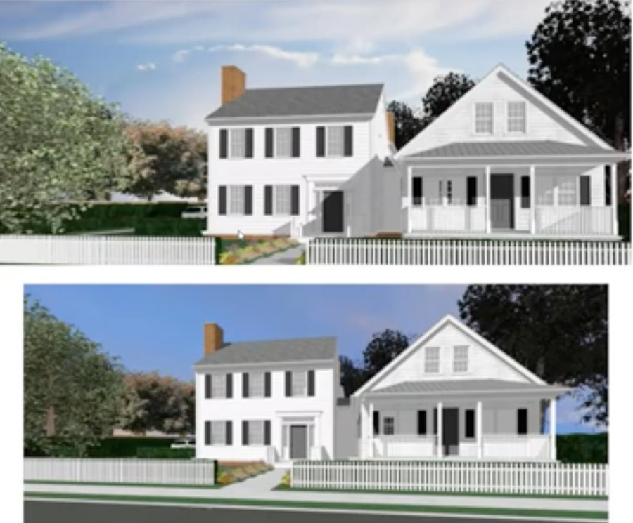 A rendering showing a new Greek Revival style addition with the original house on the right.