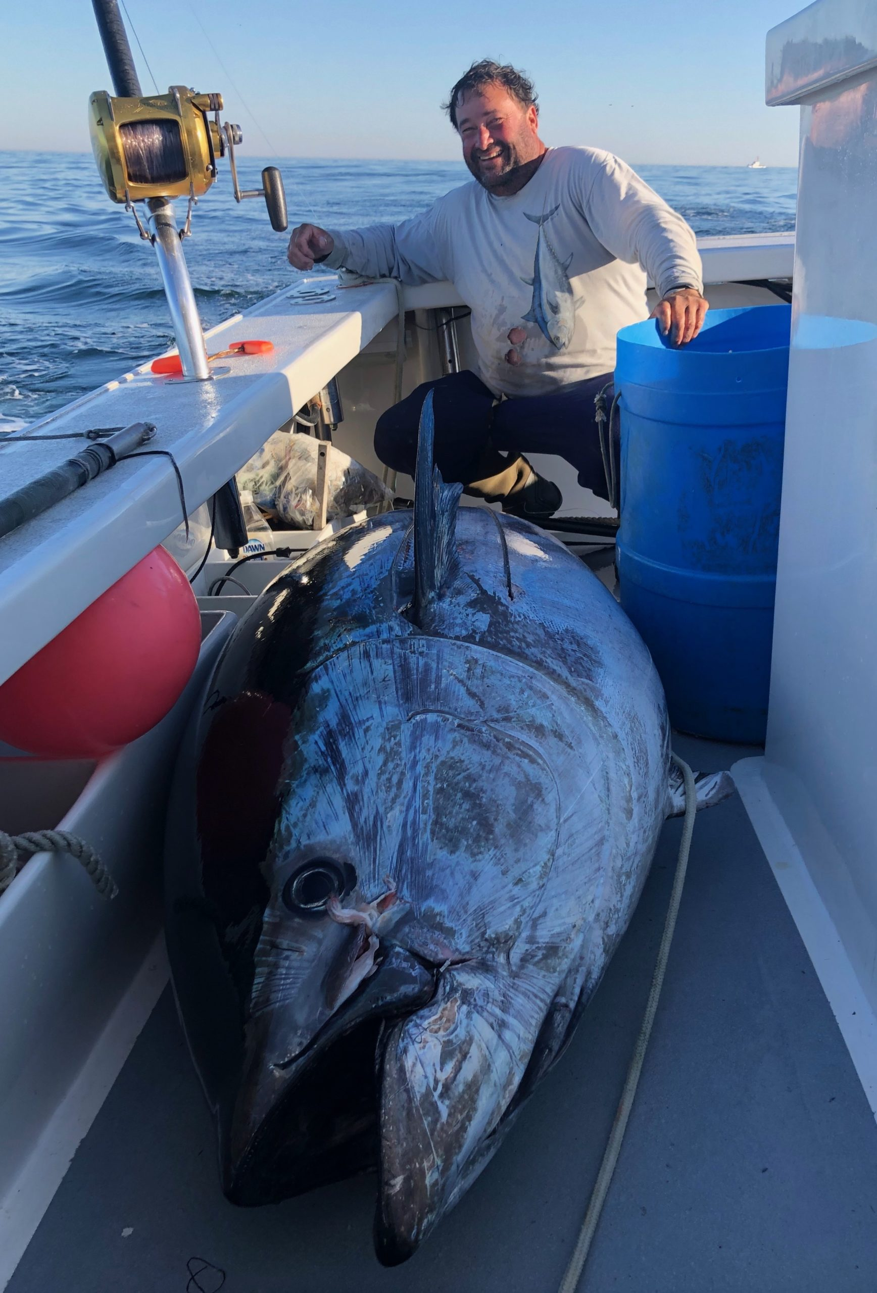 Paul Stern of Montauk and the crew of the Flying Dutchman caught this 700 pound giant bluefin tuna on Sunday.