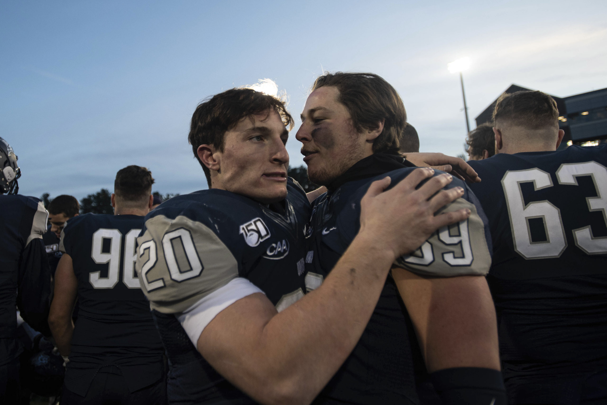Westhampton Beach graduate Dylan Laube is in his junior season at the University of New Hampshire, trying to adjust to a new normal in the time of Covid-19. He and his UNH teammates are hoping they can play an abbreviated football season in the spring, and were allowed to practice this fall.