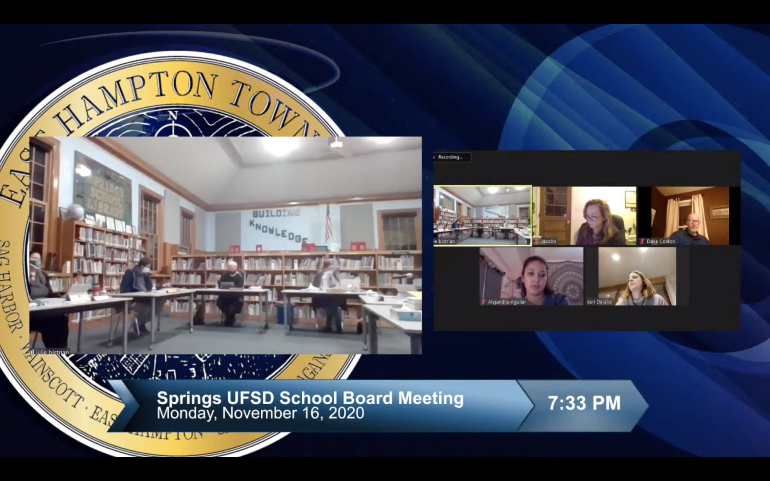 Springs School Board of Education members discuss the Phase 2 reopening plan and parent-teacher conferences during the November 16 meeting.