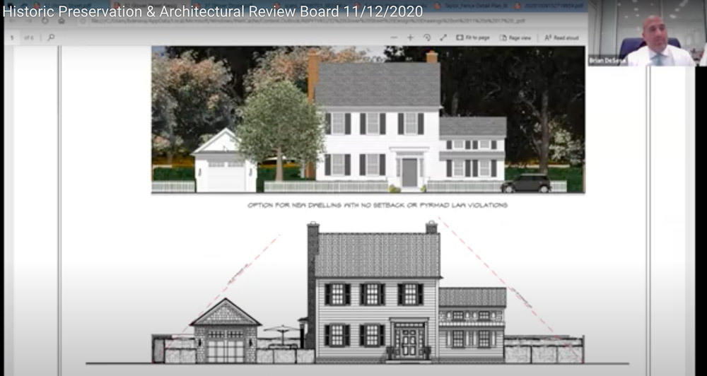 Renderings of a proposed new dwelling that conforms to setback and pyramid requirements on the Glover Street property, presented by attorney Brian DeSesa.