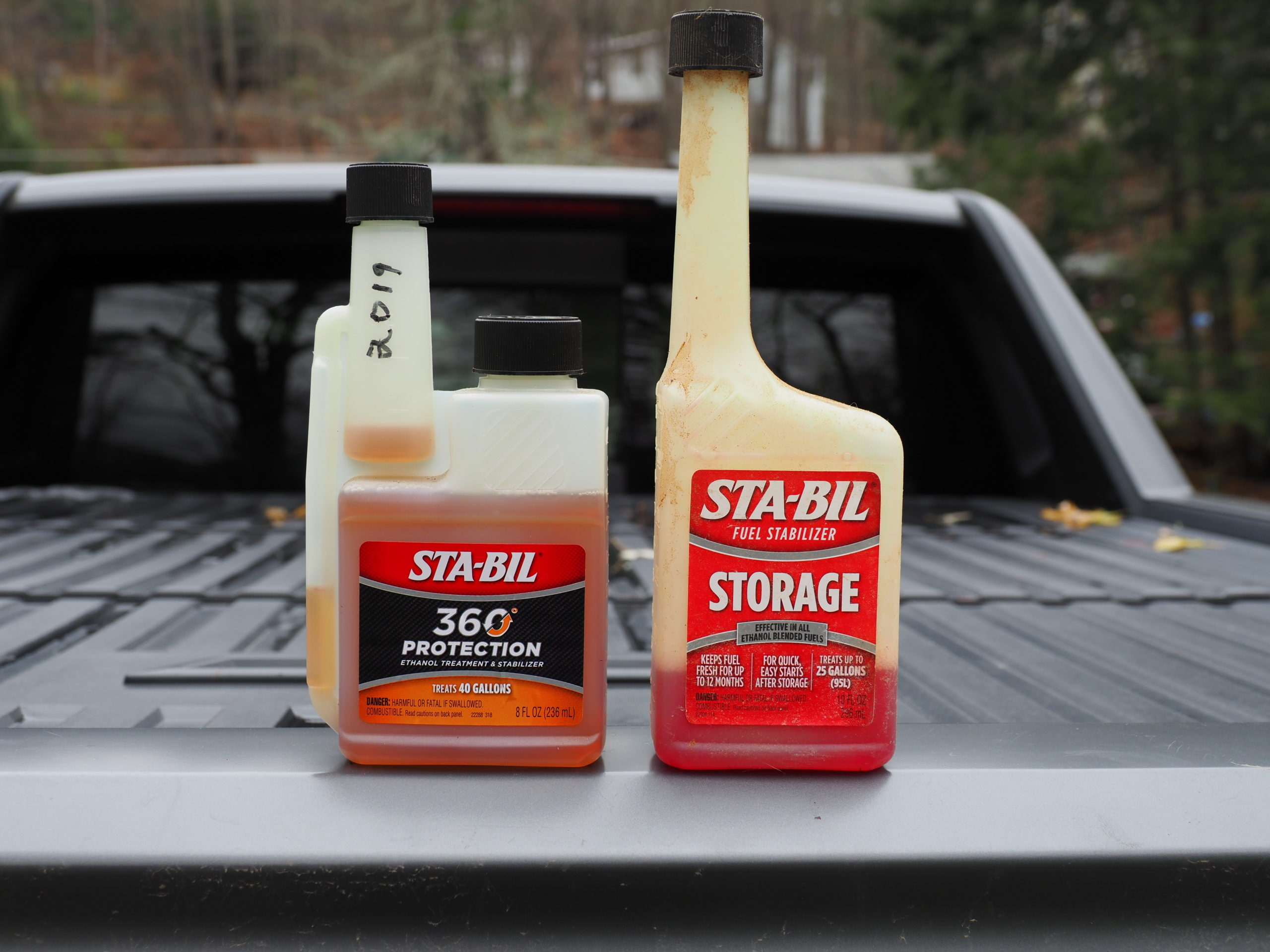 When buying fuel stabilizers you need to know if your engine gasoline is ethanol free (expensive) or from the pump (with 10 percent ethanol). If you pumped the gas, then the product at the left will remove the water from the ethanol gasoline. The product on the right is for ethanol-free gasoline.
