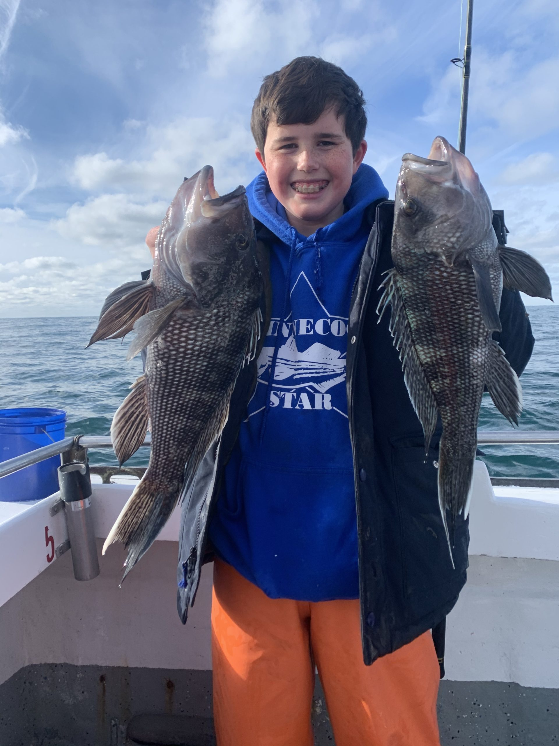 Kevin Kelly decked a couple of big black sea bass while fishing on the Shinnecock Star on Sunday.  Deena Lippman/Shinnecock Star