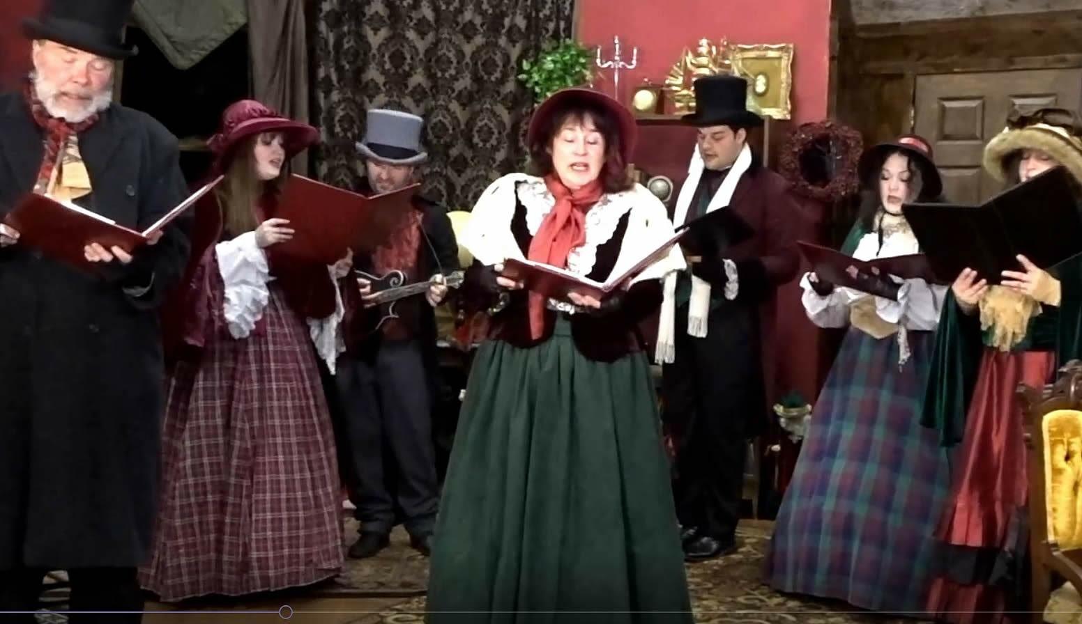 The Dickens Carolers performing at Southampton Cultural Center's virtual holiday event. From left, Ken Dorph, Rachel DeMasi, Paul DeMasi, Bonnie Grice, Ryan Hayes, Adriana Satornino, Jessie Haynes.