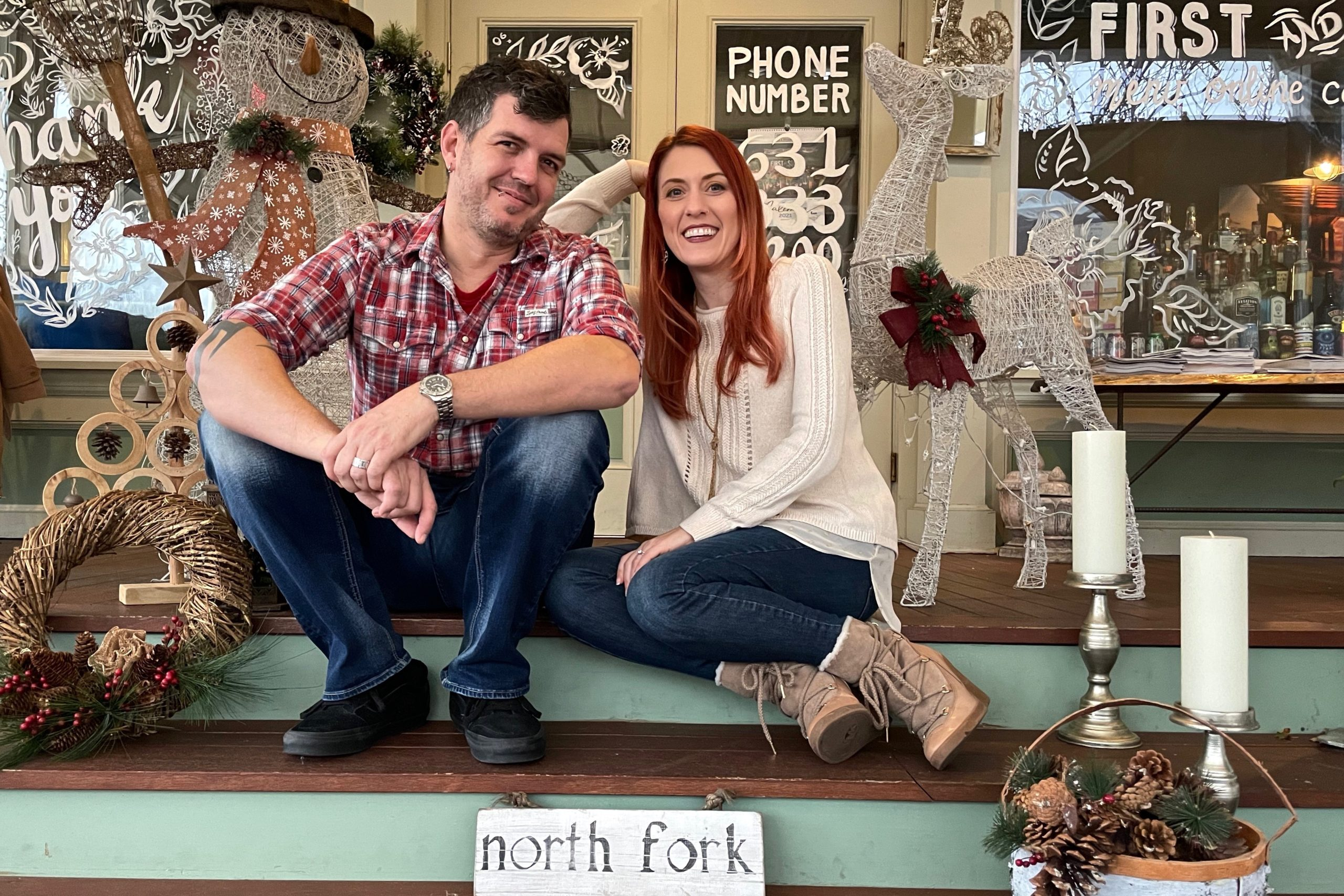 Husband and wife theater professionals Ethan Popp and Vanessa Leuck on the porch of Greenport's First and South Restaurant & Bar where they are presenting a socially distanced one-man dinner theater production of