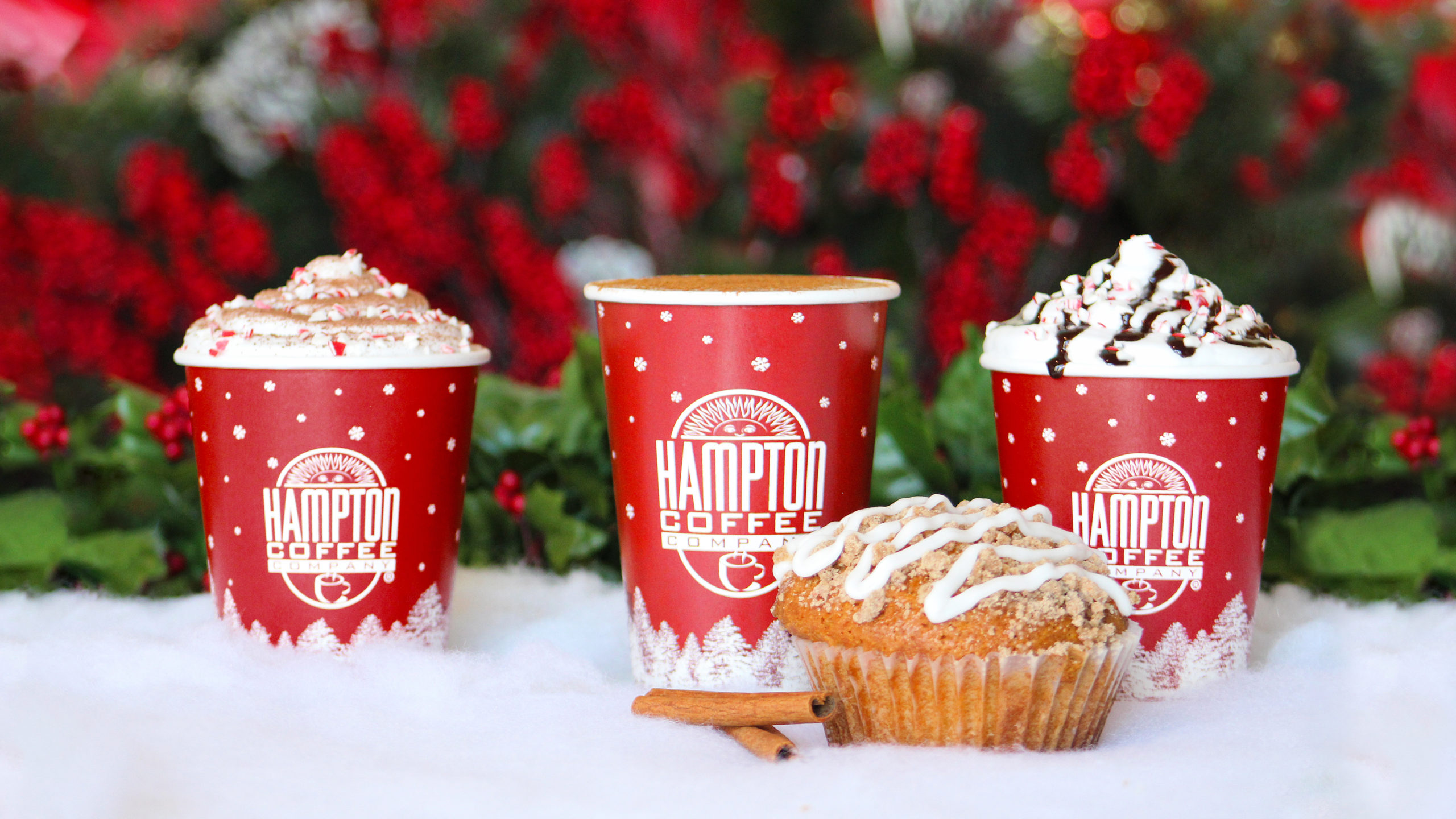 Holiday beverages and sweet treats at Hampton Coffee Company.