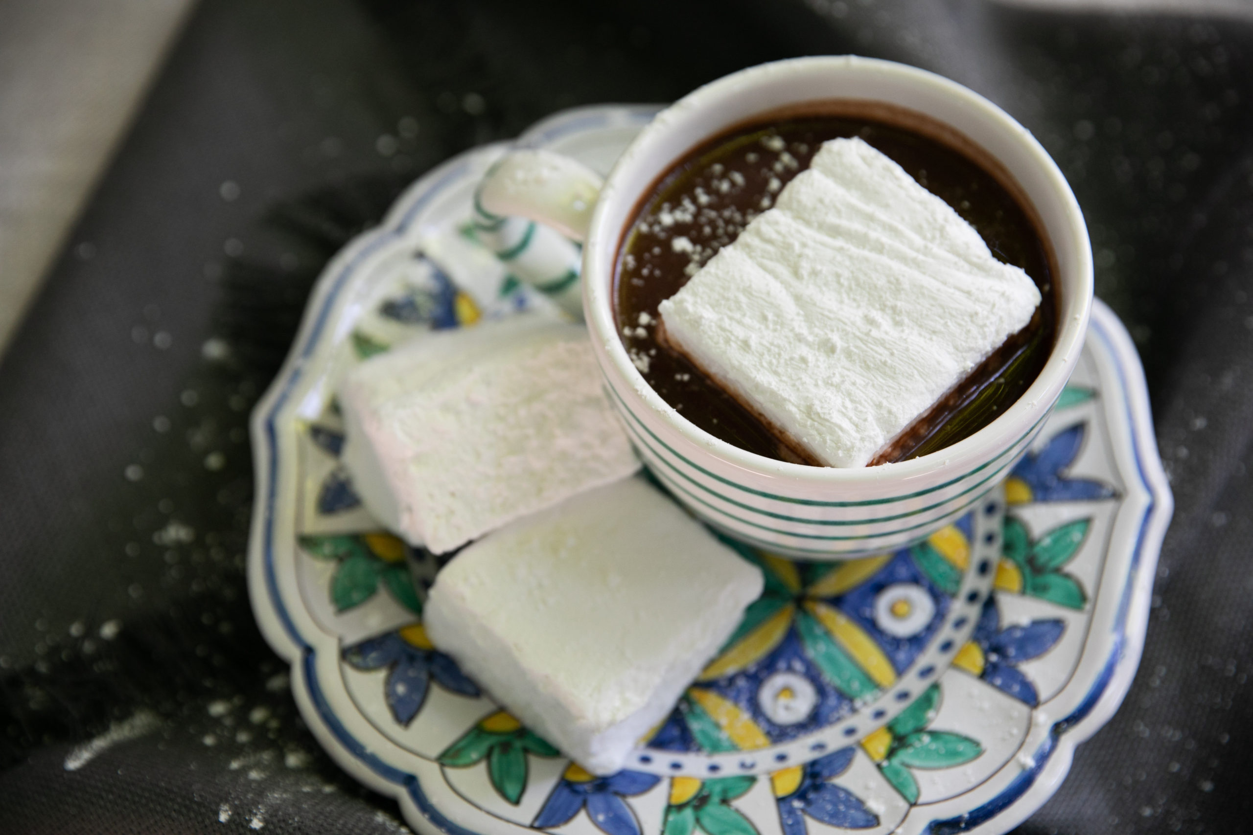 Hot chocolate with homemade marshmallows, one of the recipes in the winter Loaves & Fishes Farm Series trio of cookbooks.