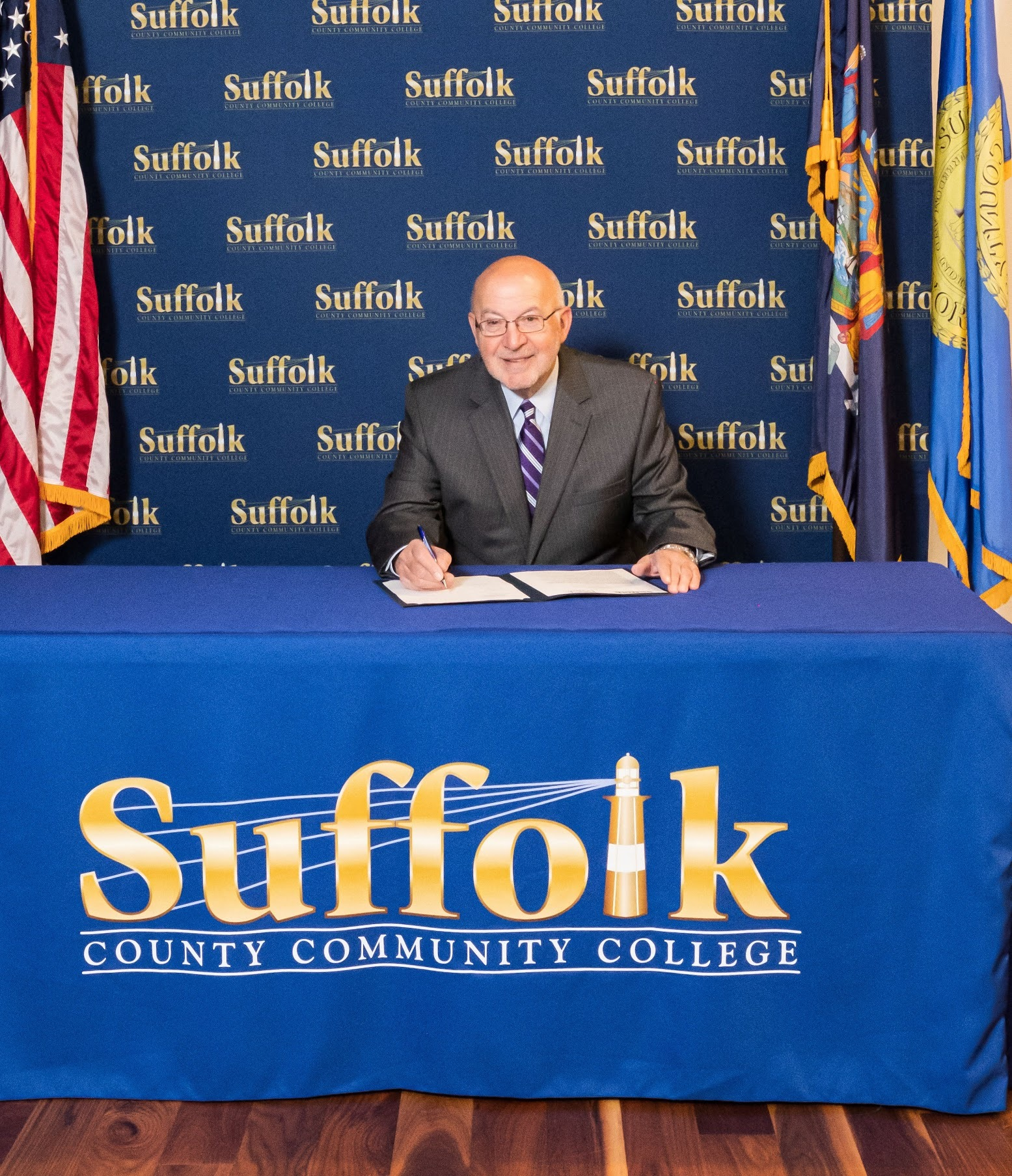 Suffolk County Community College Interim President Louis J. Petrizzo at the virtual meeting authorizing a new admissions agreement between the college and Pace University.