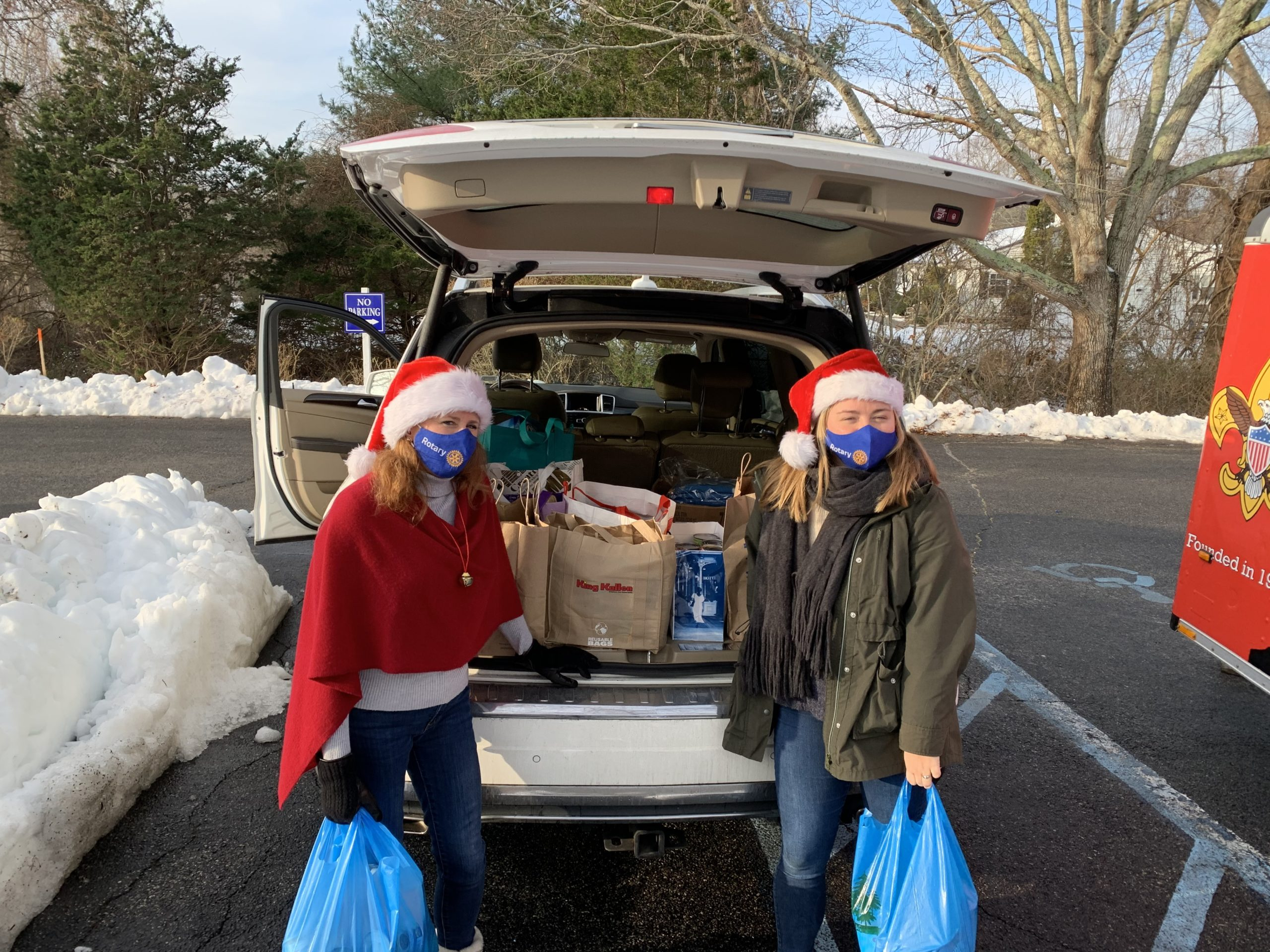 "The Hampton Bays Rotary, including Anna and Julie Crowley, donated 13 heavy bags of food and $155 to the Hampton Bays Food Pantry as a part of the Rotary District 7255 and Hampton Bays Rotary ""25 Days of Giving."" St. Rosalie's Food Pantry serves many people in the Hampton Bays and East Quogue communities and during these difficult times we are extra grateful for their support. Catherine Andrejack, the director of the pantry, reports the pantry is serving about 500 people a month and is accepting financial donations as well as fresh produce and dairy items. To donate, contact the outreach office at 631-728-9461, ext. 15."