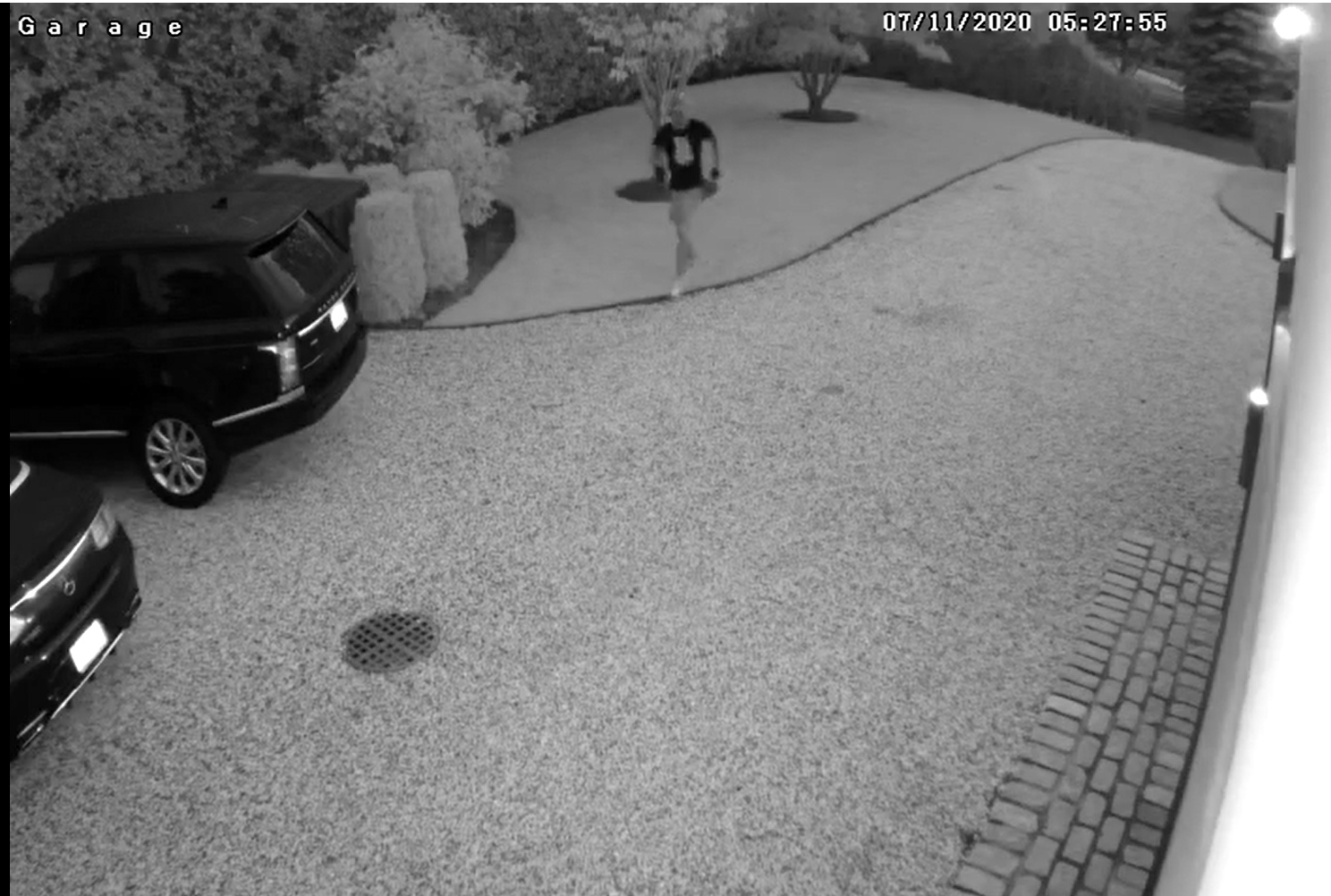 Home surveillance video captured images of one of the dozens of car thefts in Southampton. Above, the thief trots casually up the victim's driveway. COURTESY STPD