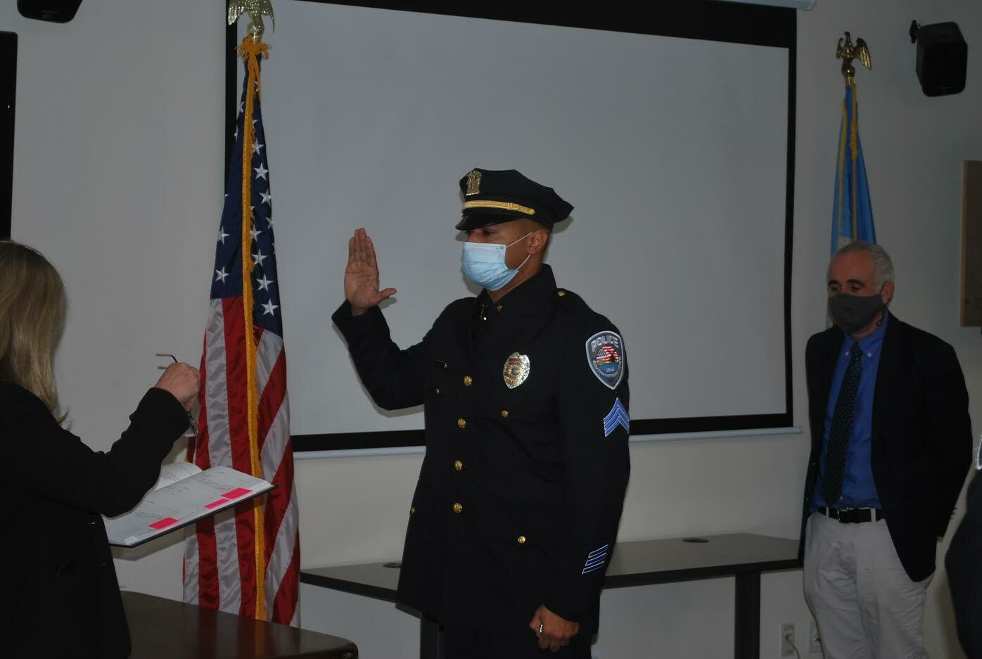 Sherekhan Parker made history December 1, as he was sworn in Southampton Town Police Sergeant, the first African American in the department to achieve the rank. COURTESY STPD