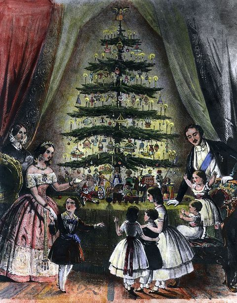 England, December, 1848: The Royal Christmas tree is admired by Queen Victoria, Prince Albert and their children.