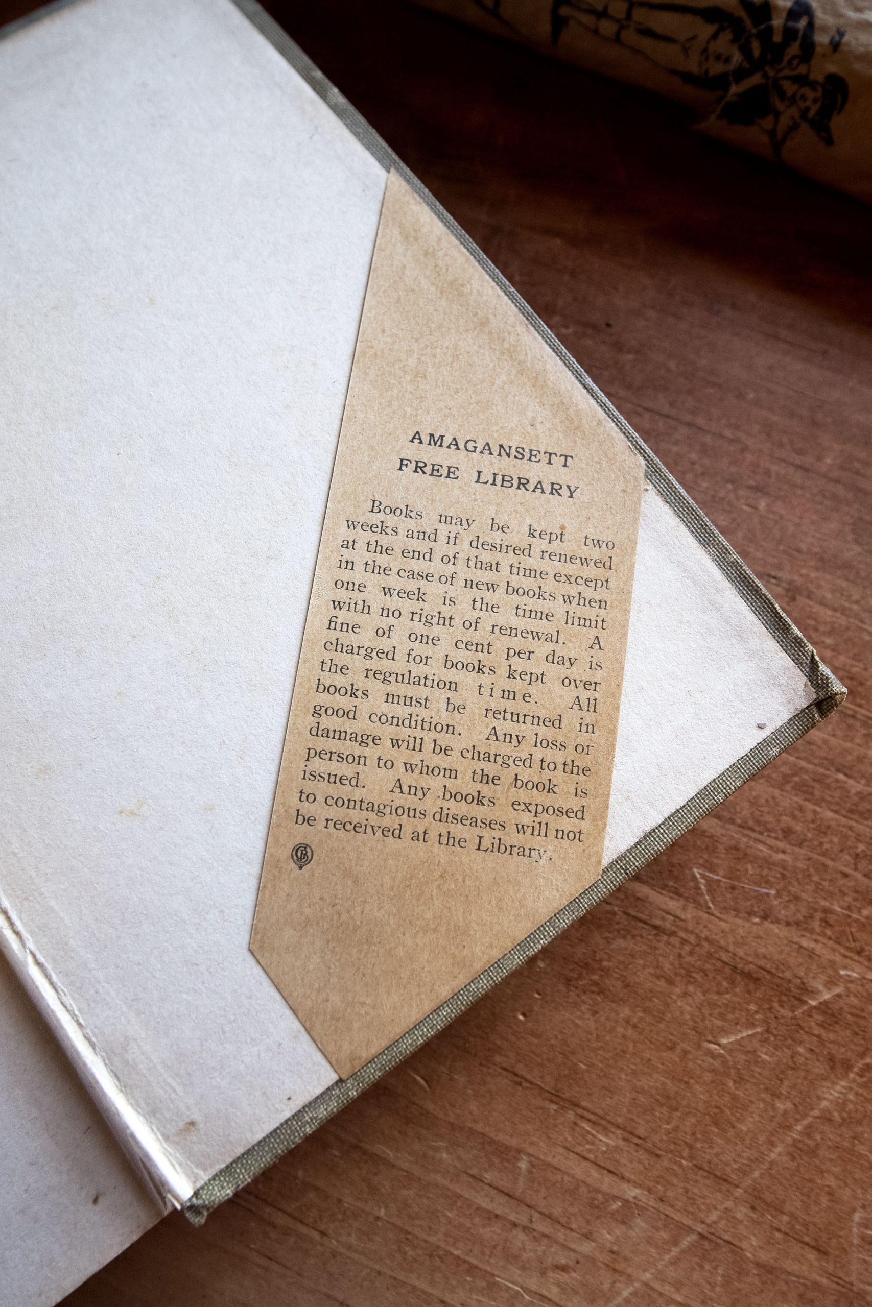 The library policy that was in place when the book was last in the library's collection.