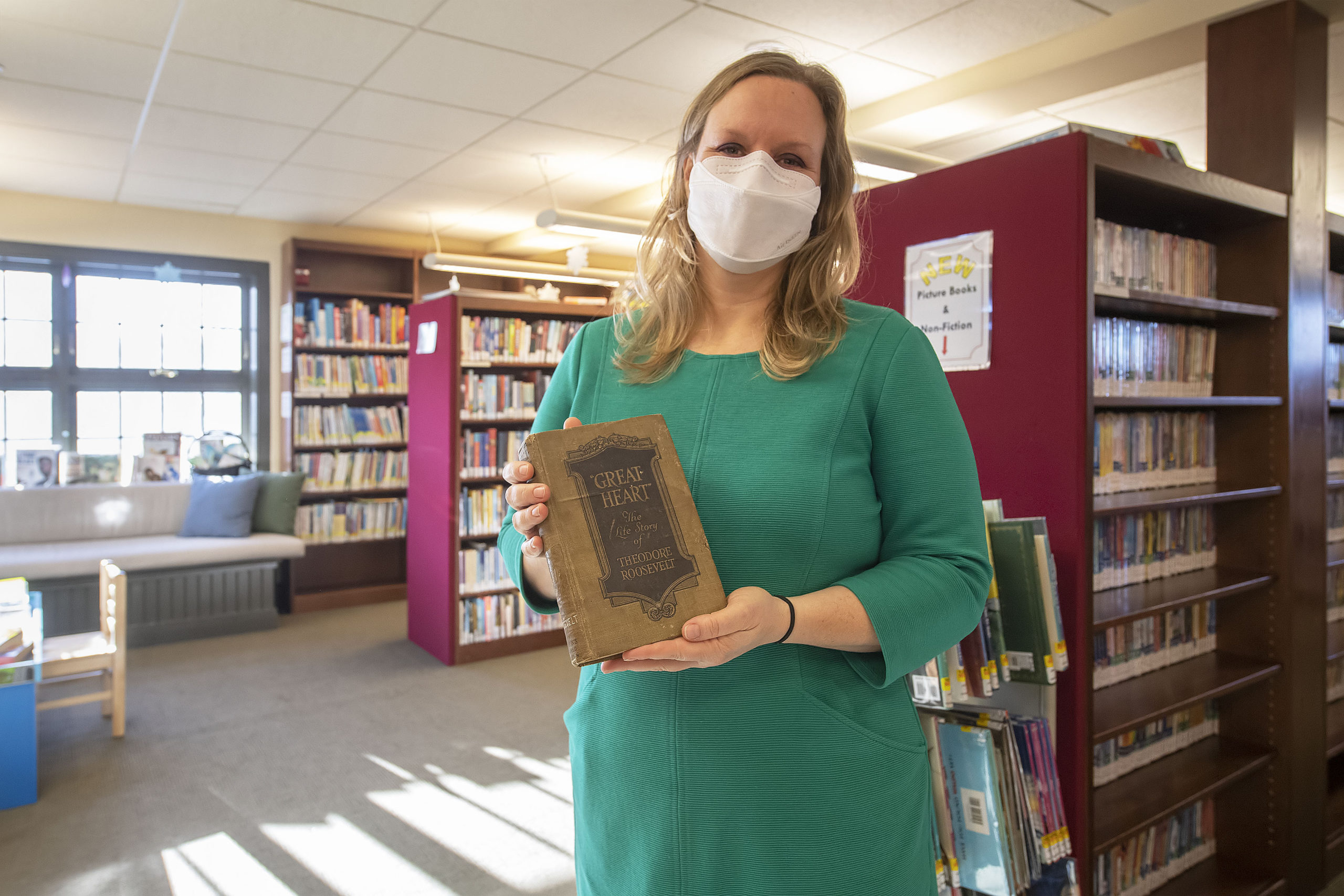 Amagansett Library director Lauren Nichols said she was happy to have the first edition back in the library's hands. MICHAEL HELLER PHOTOS