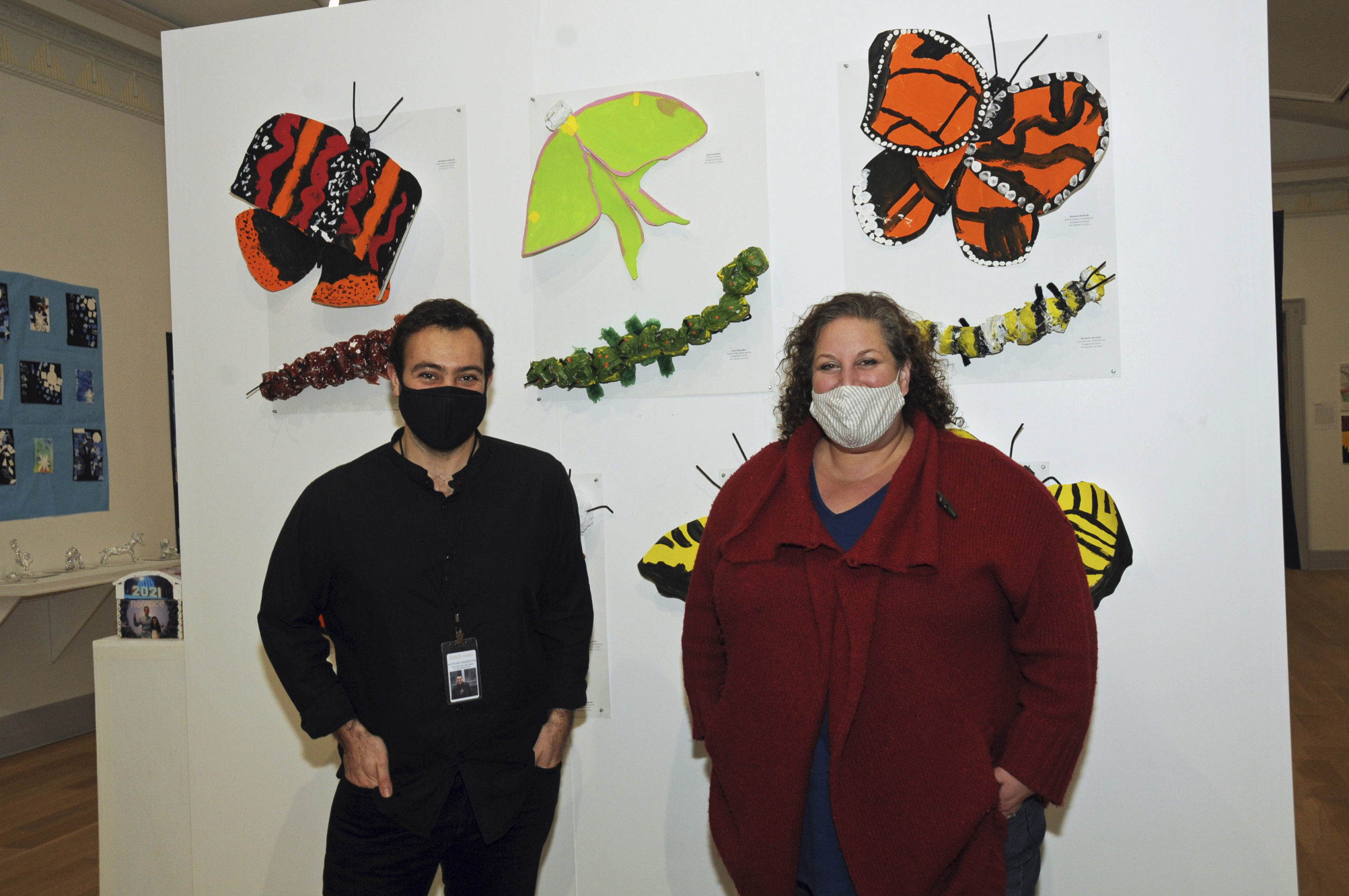 Anthony Madonna and Amy Kirwin at the Guild Hall Student Art Festival 2021: Past-Present-Future.    RICHARD LEWIN
