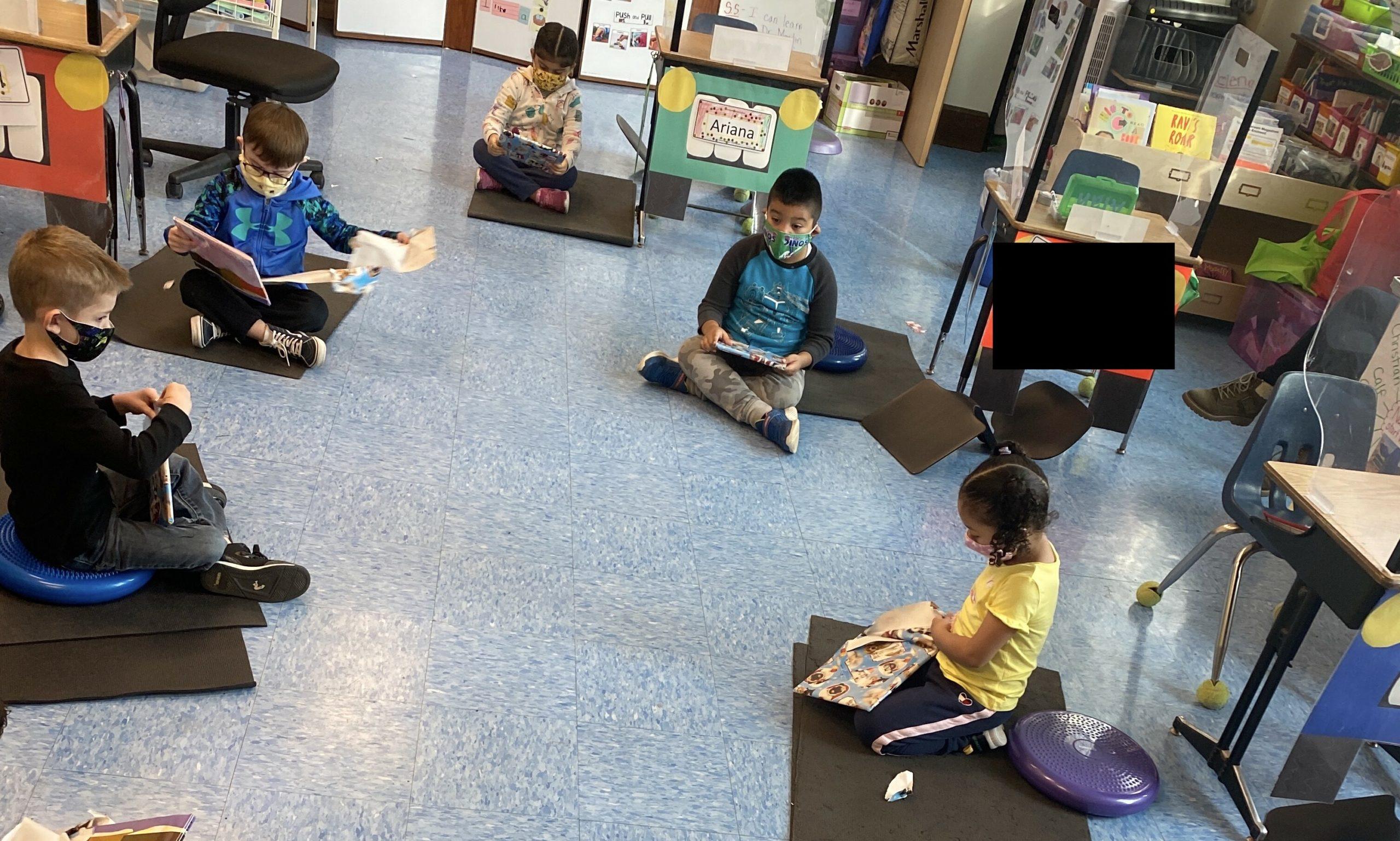 Bridgehampton School kindergarten students enjoyed reading.