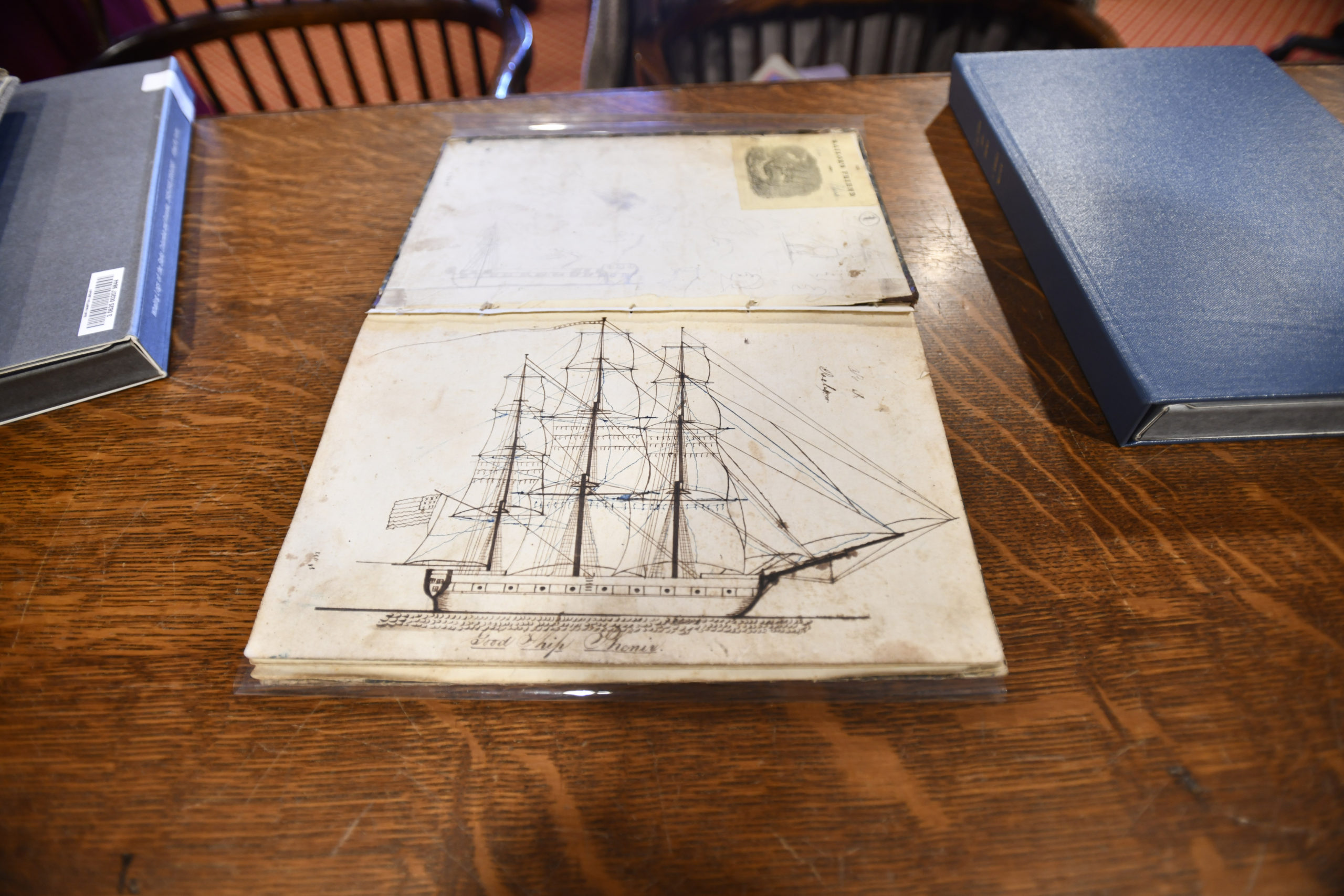 A rendering of the  whaling ship Phenix from the pages of its log. The Phenix was on a voyage from Sag Harbor to the Northwest Coast, 10 October 1844 to 5 June 1847.   DANA SHAW