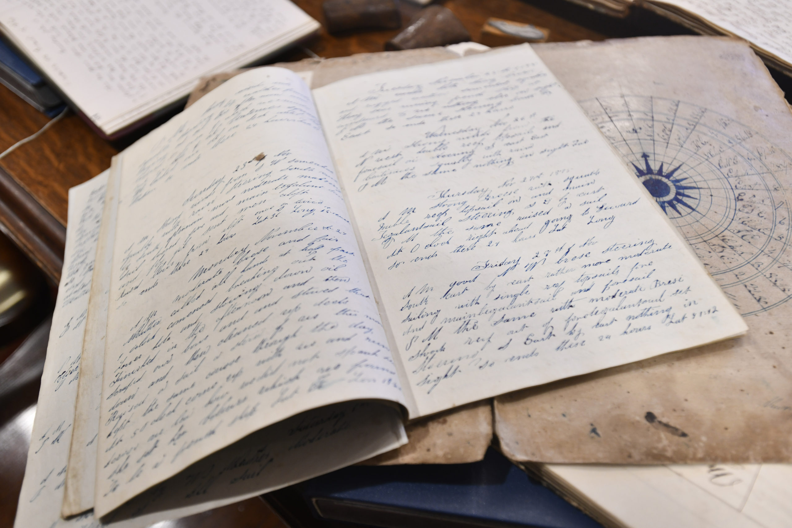 The log book from the Henry. The ship sailed out of Sag Harbor, on August 22, 1845 for whaling along the N.W. coast and returned May 24, 1847. The ship was sold in 1847.   DANA SHAW